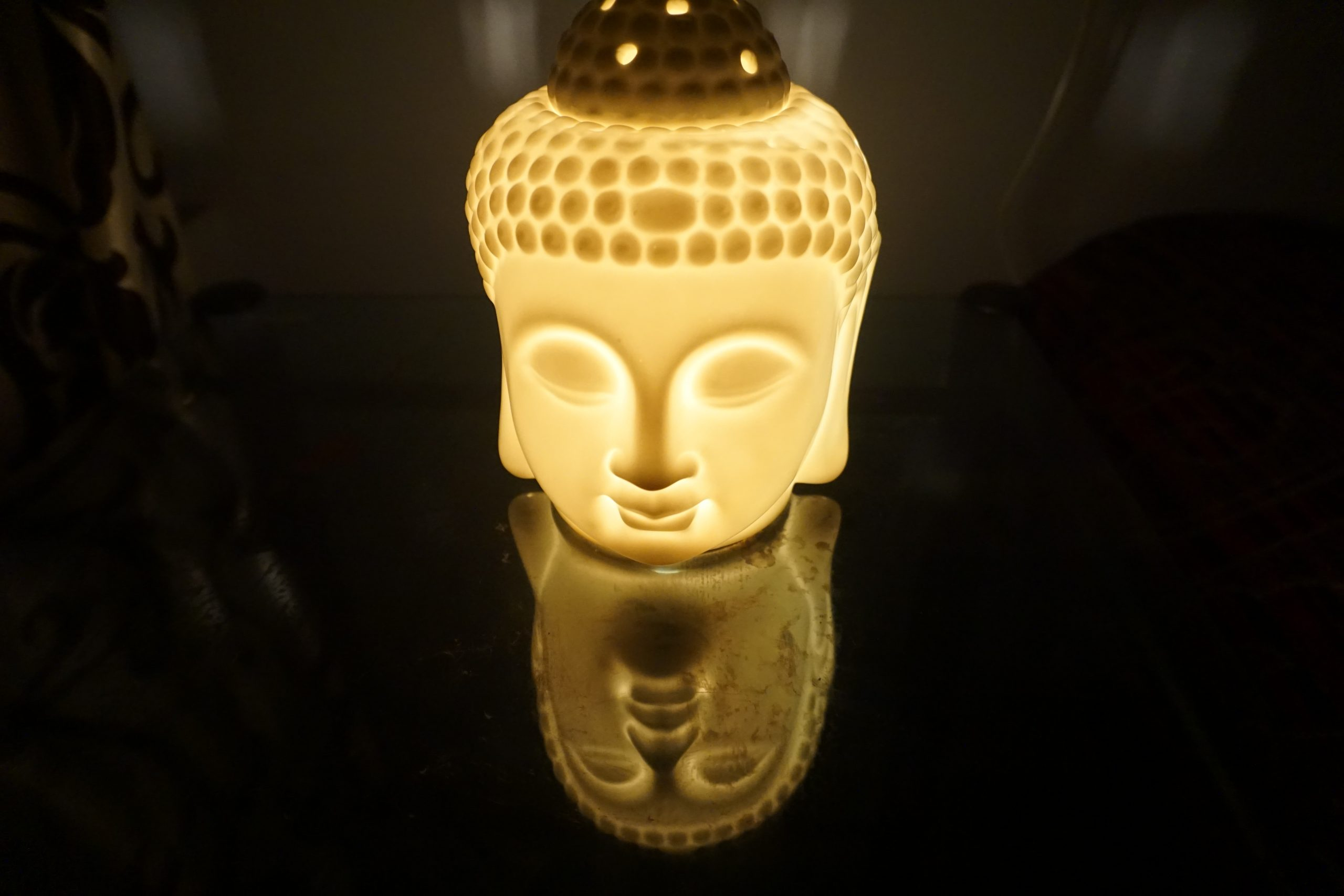 Buddha Head Carving with Light