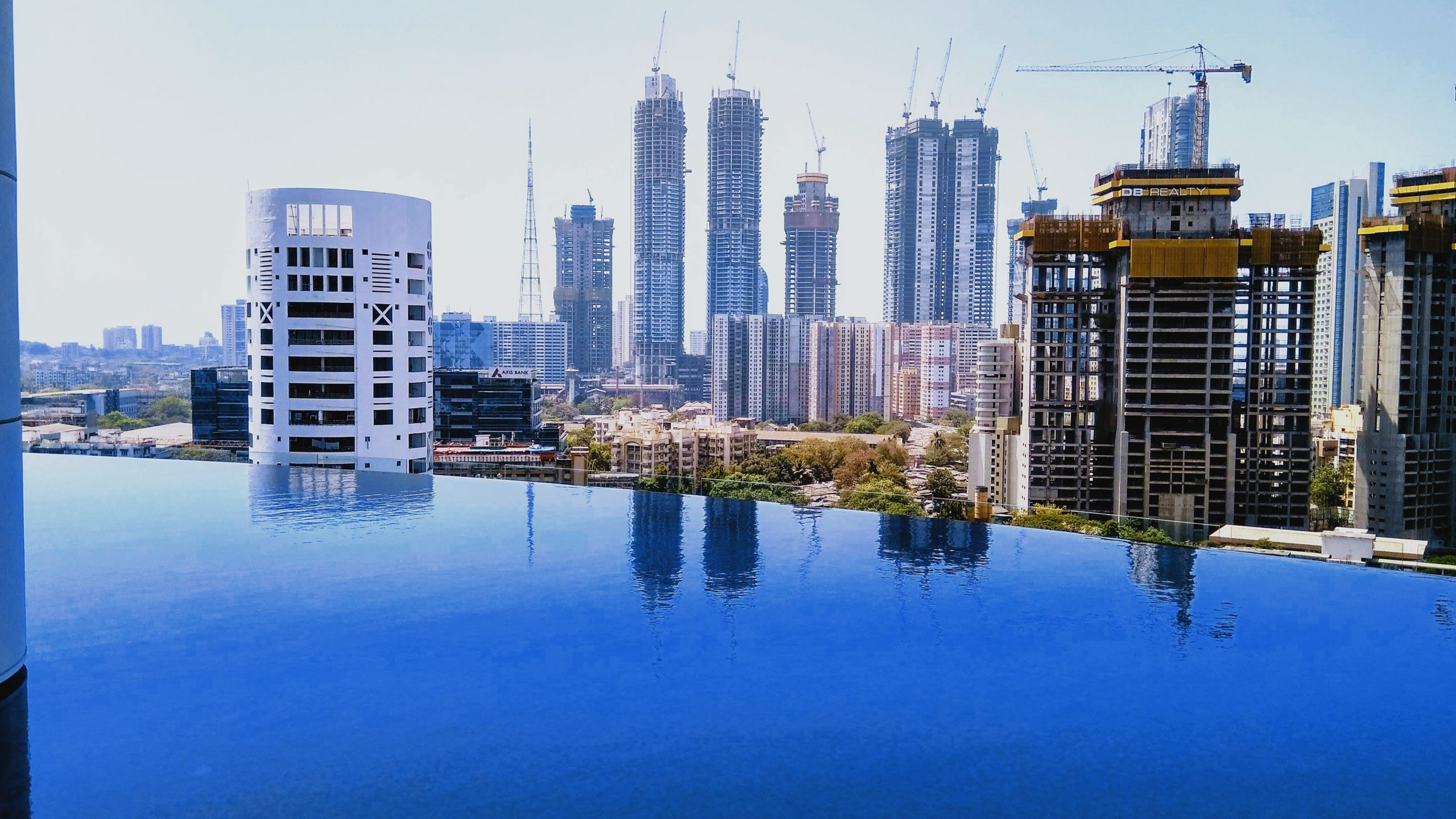 Buildings and blue water