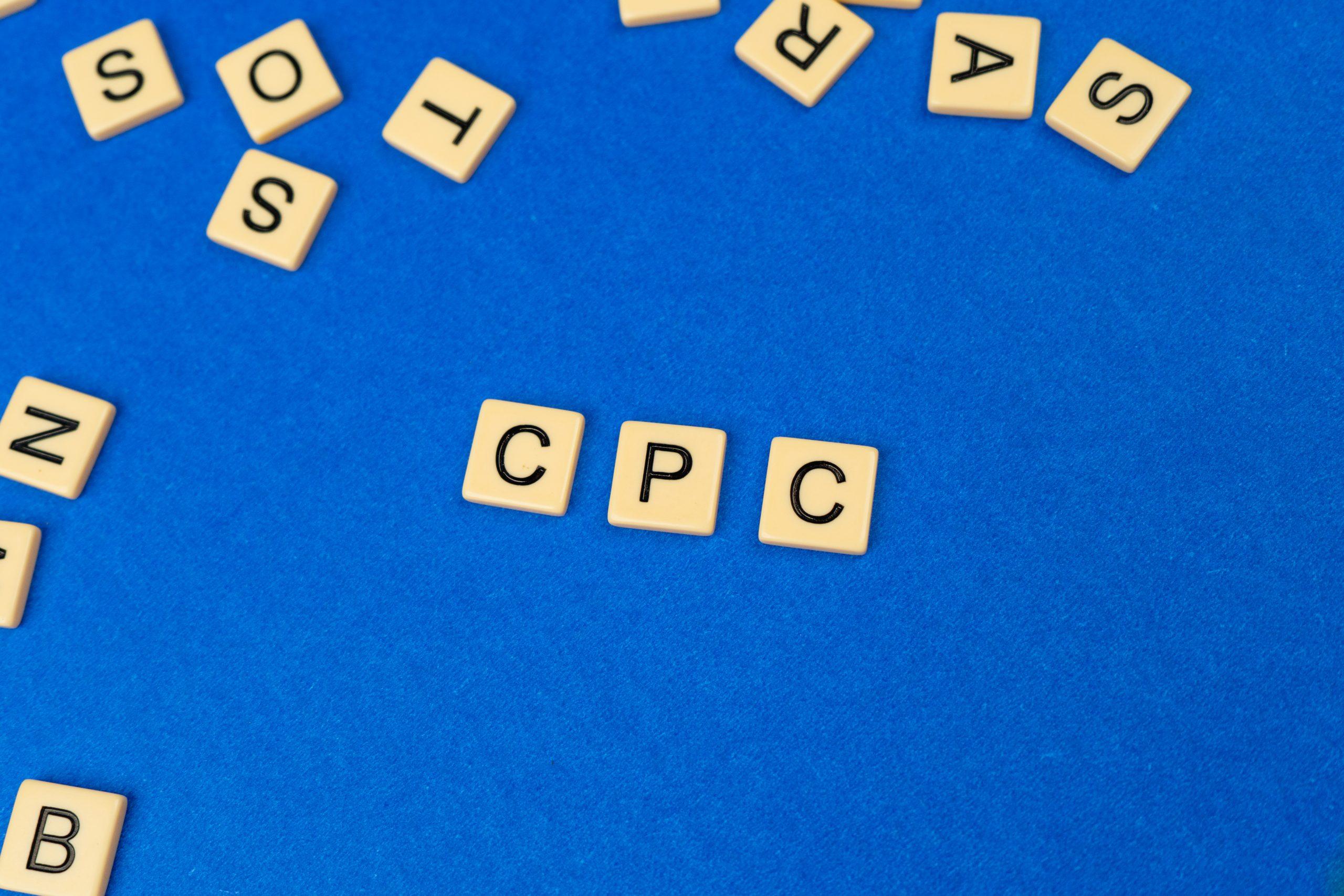 CPC written on scrabble