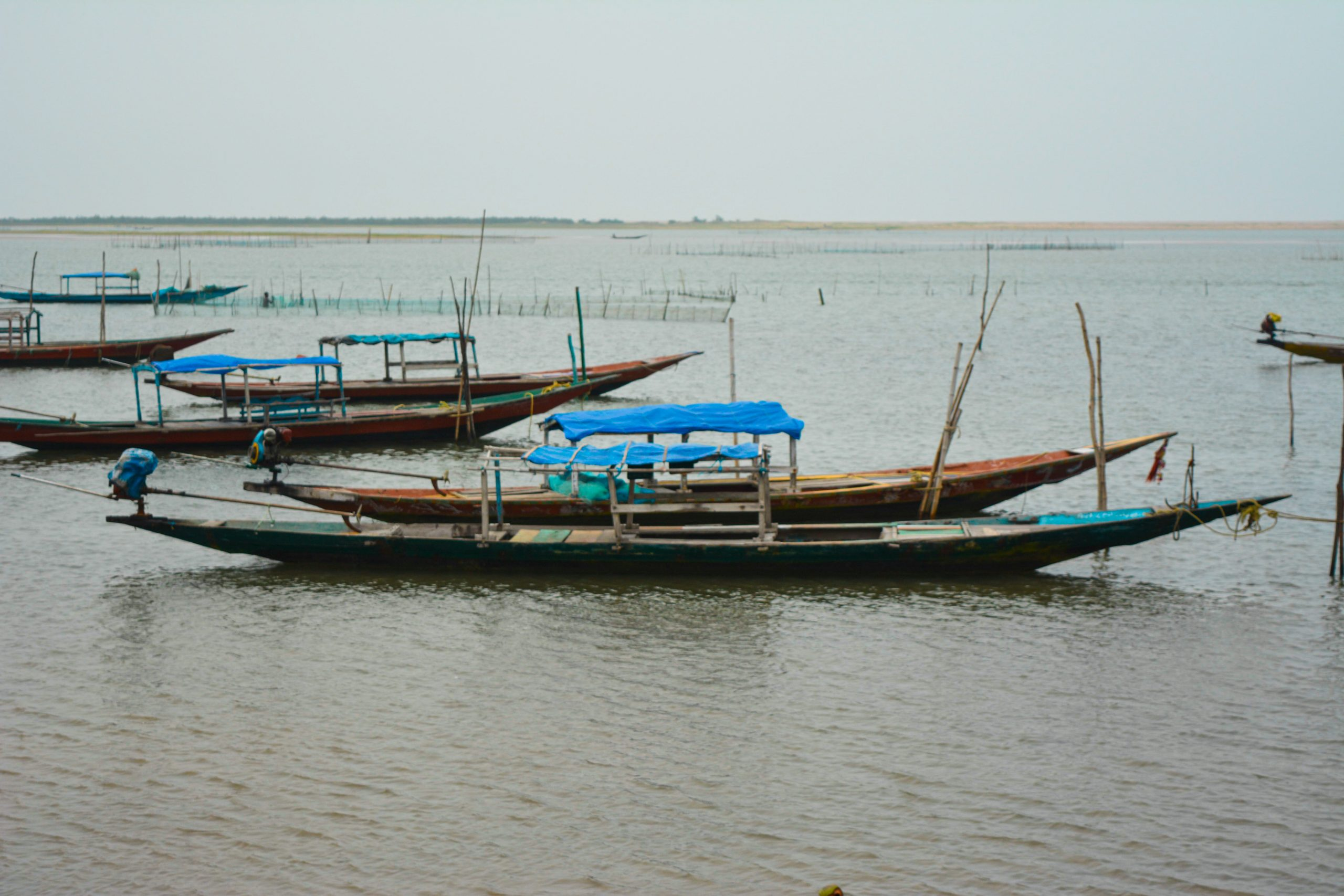 Fishing boats floating on the water