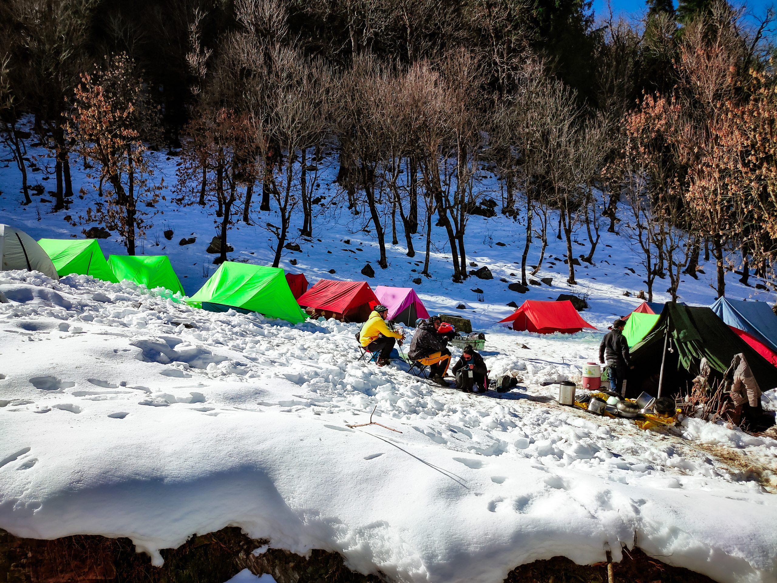 Camping in a snowy valley