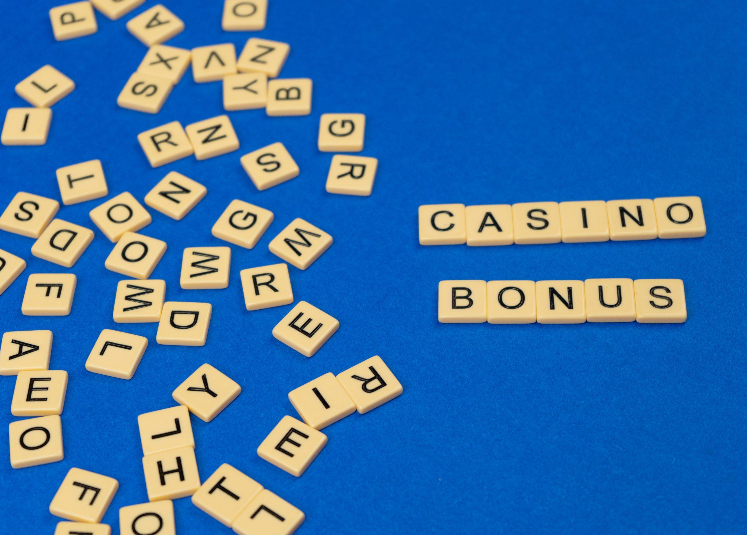 Casino bonus written on scrabble