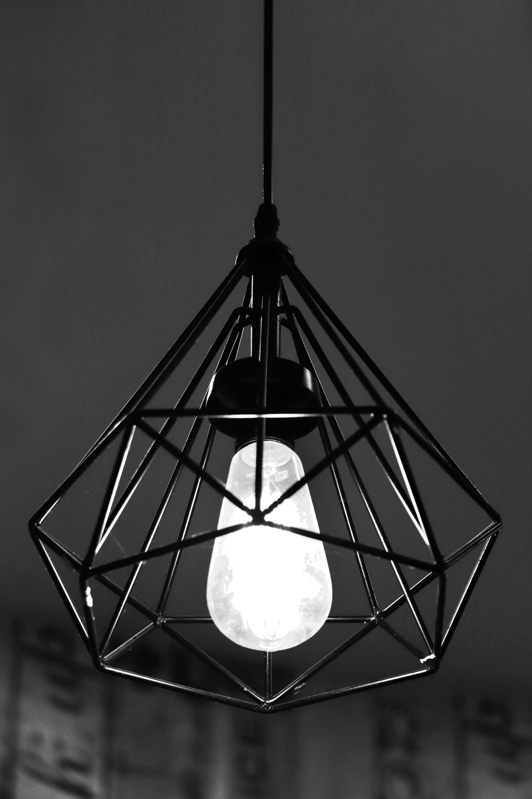 Chandelier in black and white