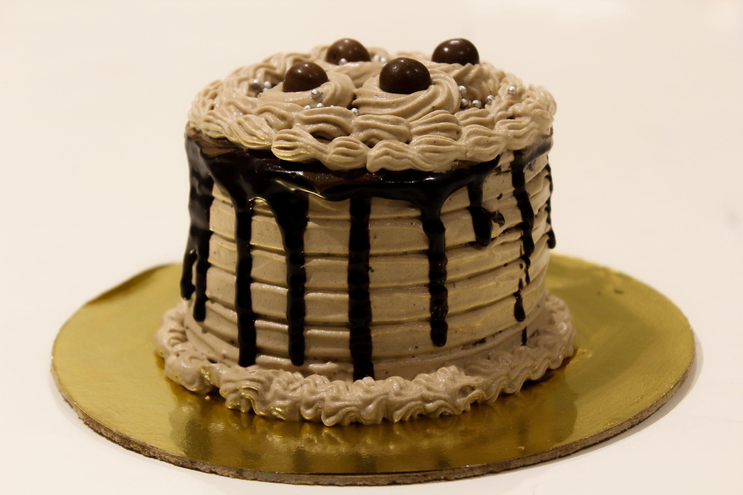 Chocolate muffle with blackberry crush cake