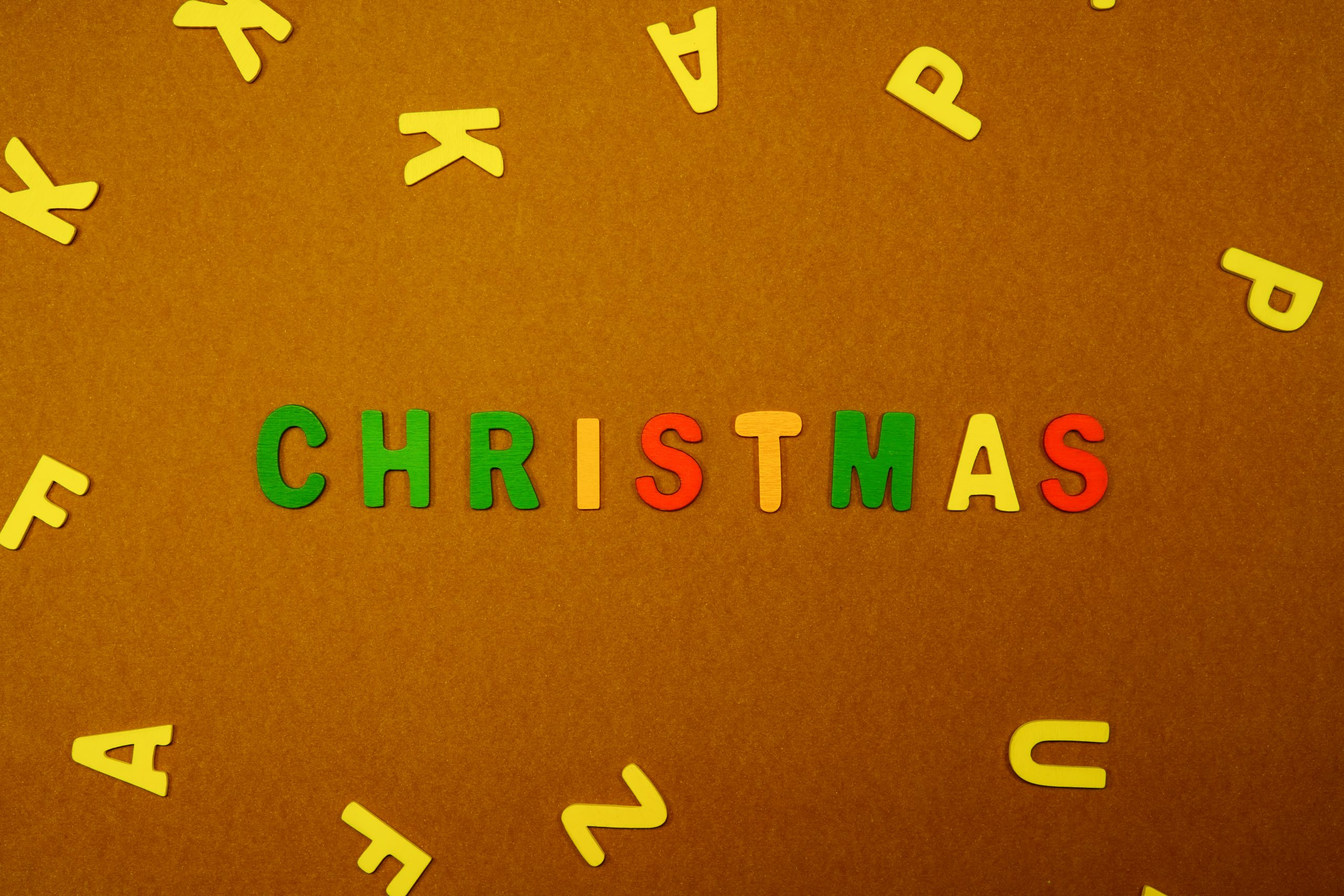 Christmas written on scrabble