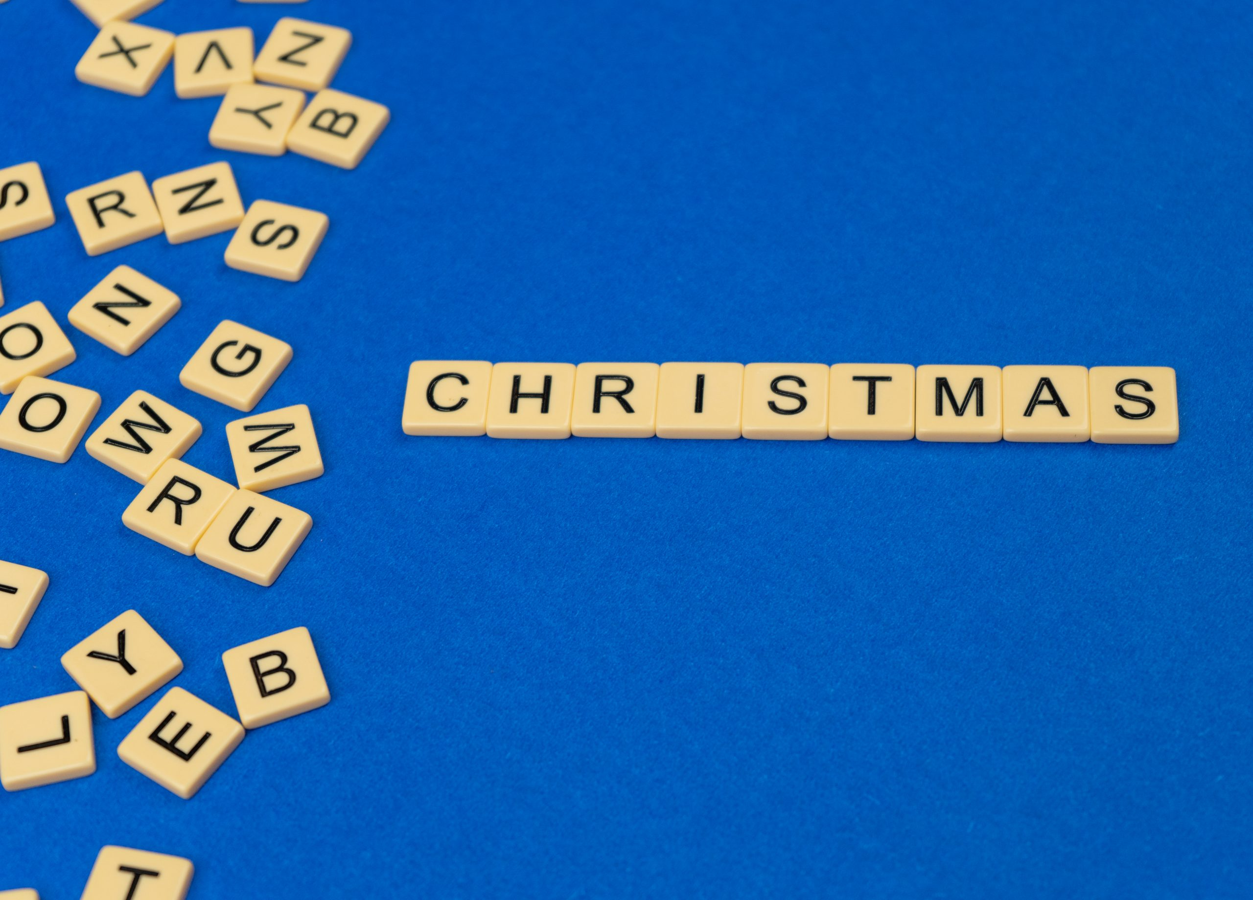 Christmas written with scrabble