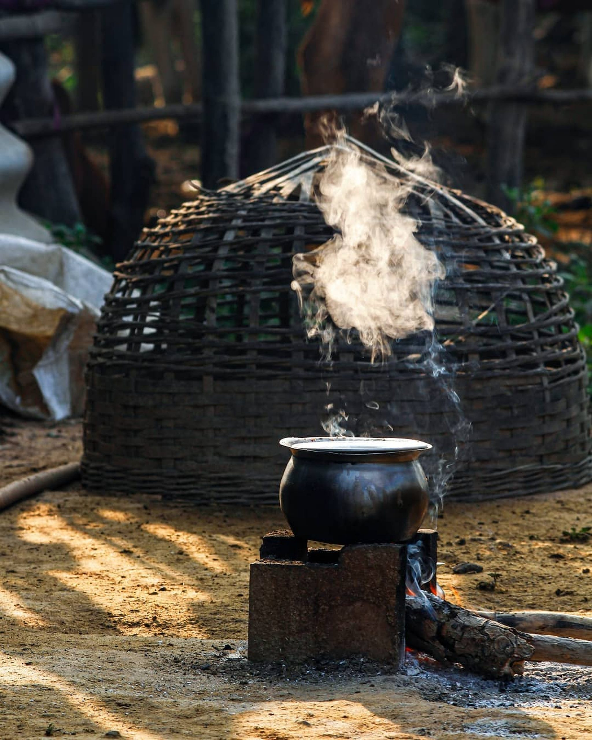 Clay stove in a village