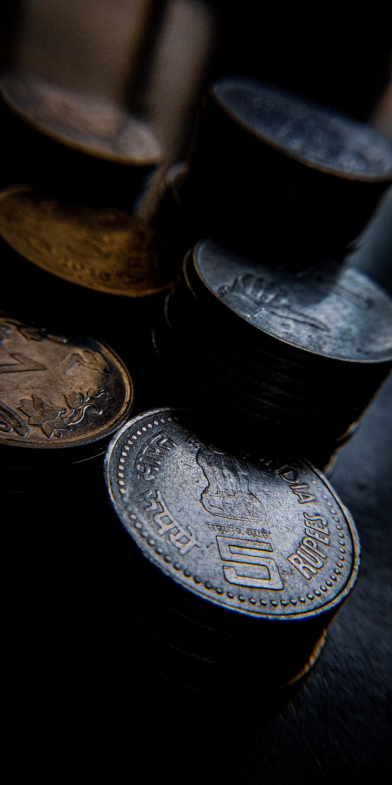 Coins in the Table on Focus