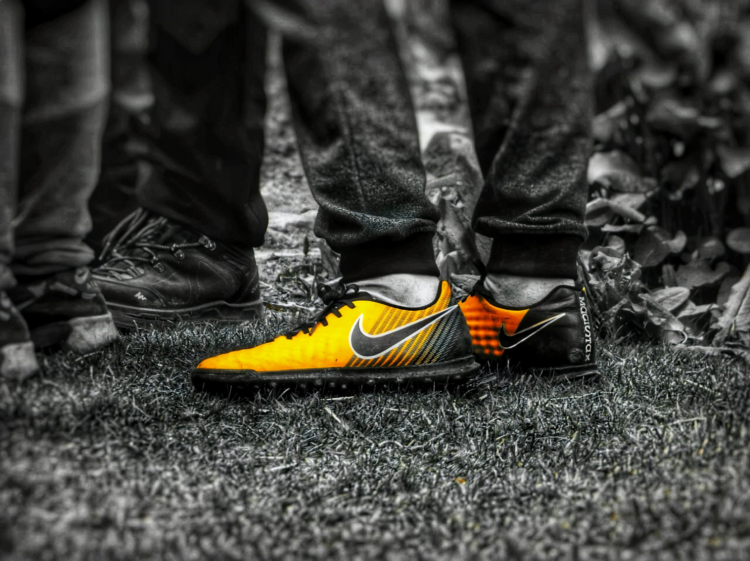 Color-popped vibrant football shoes
