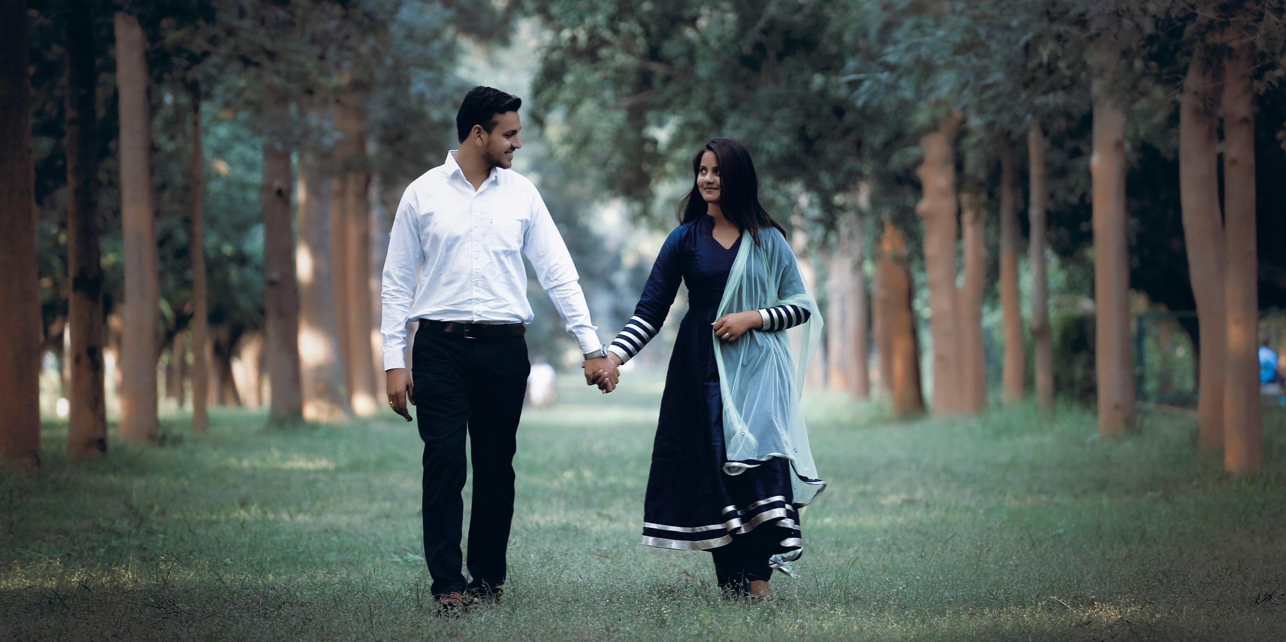 Couple walking landscape