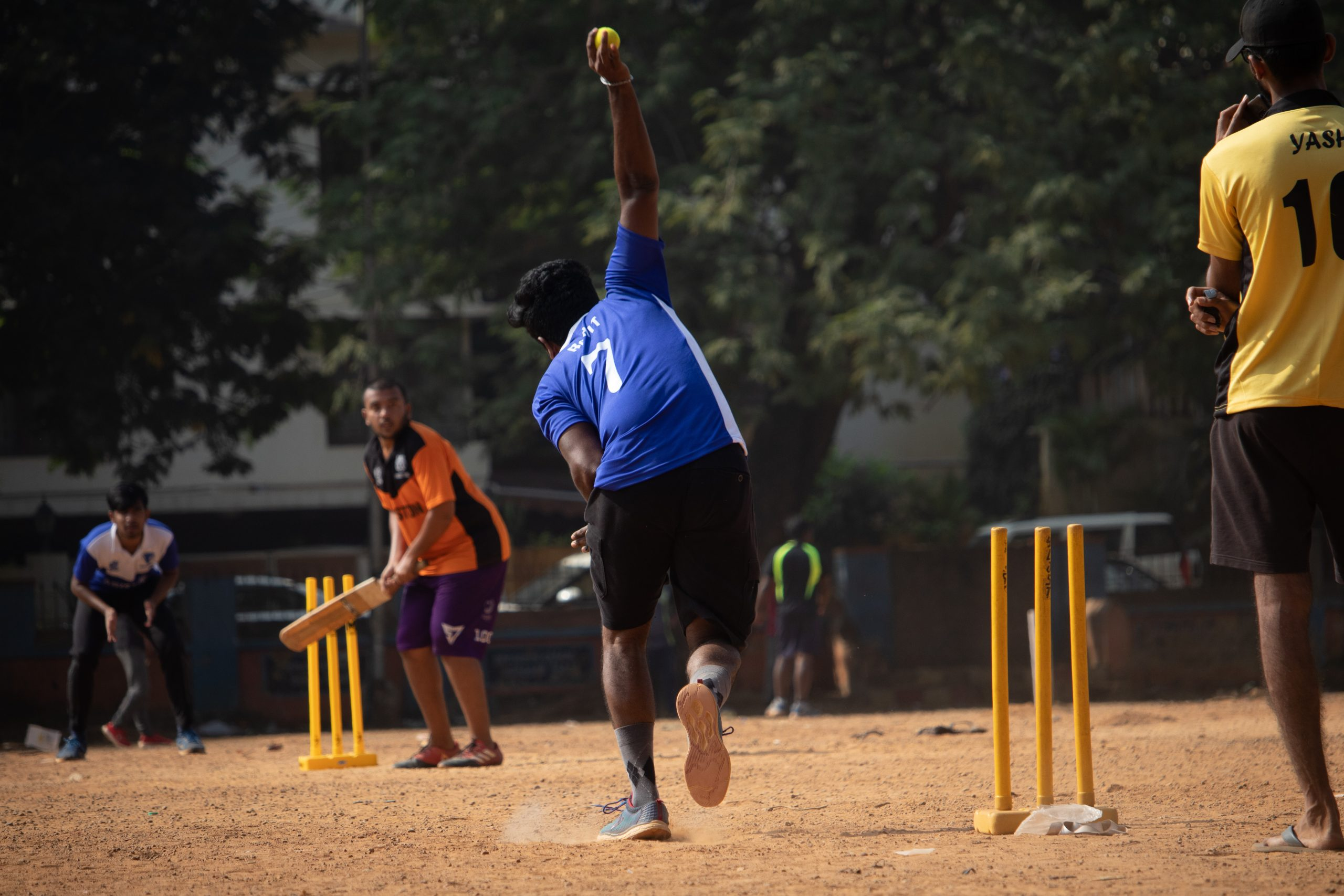 Cricket game in action