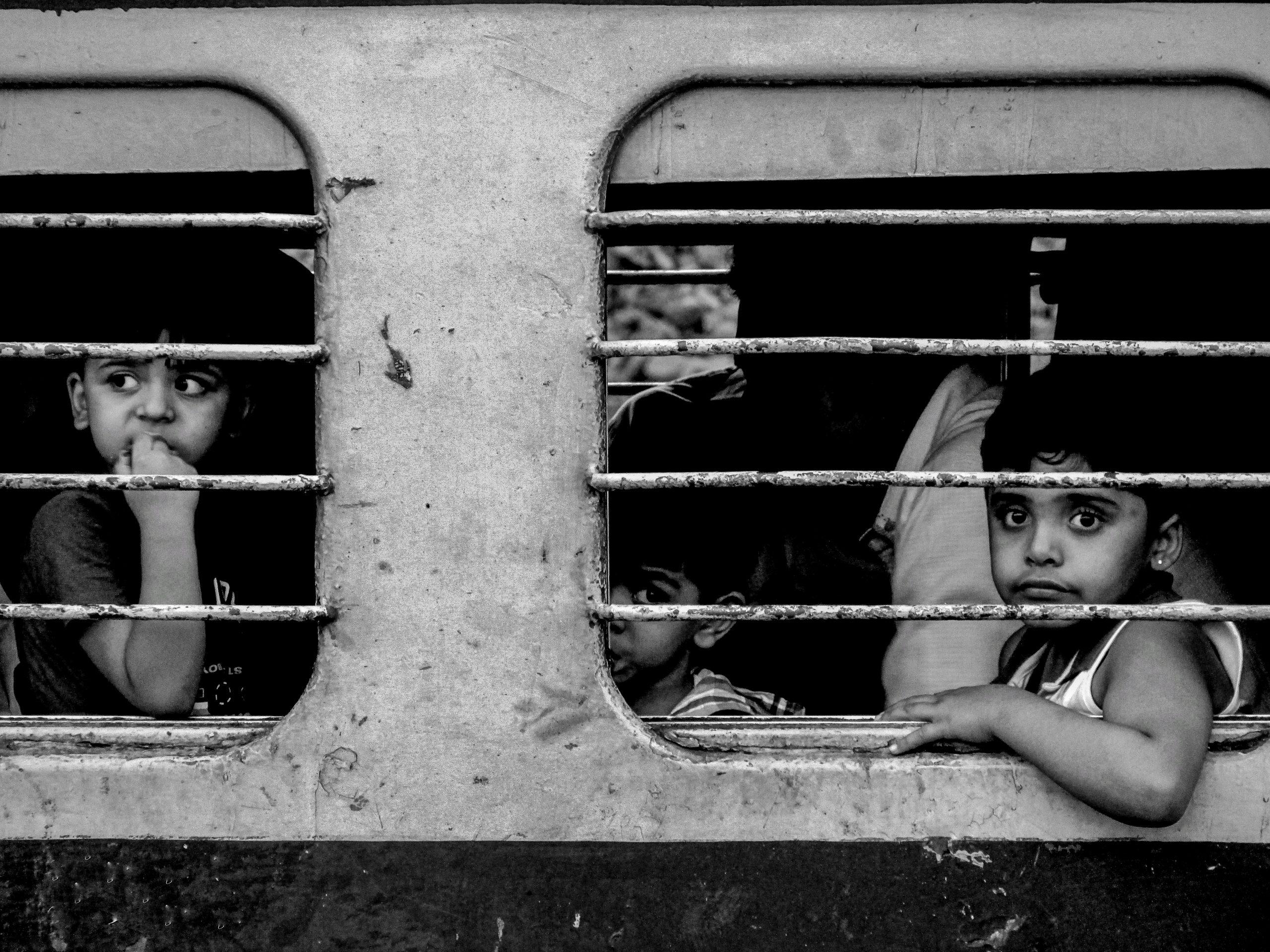 kids in train