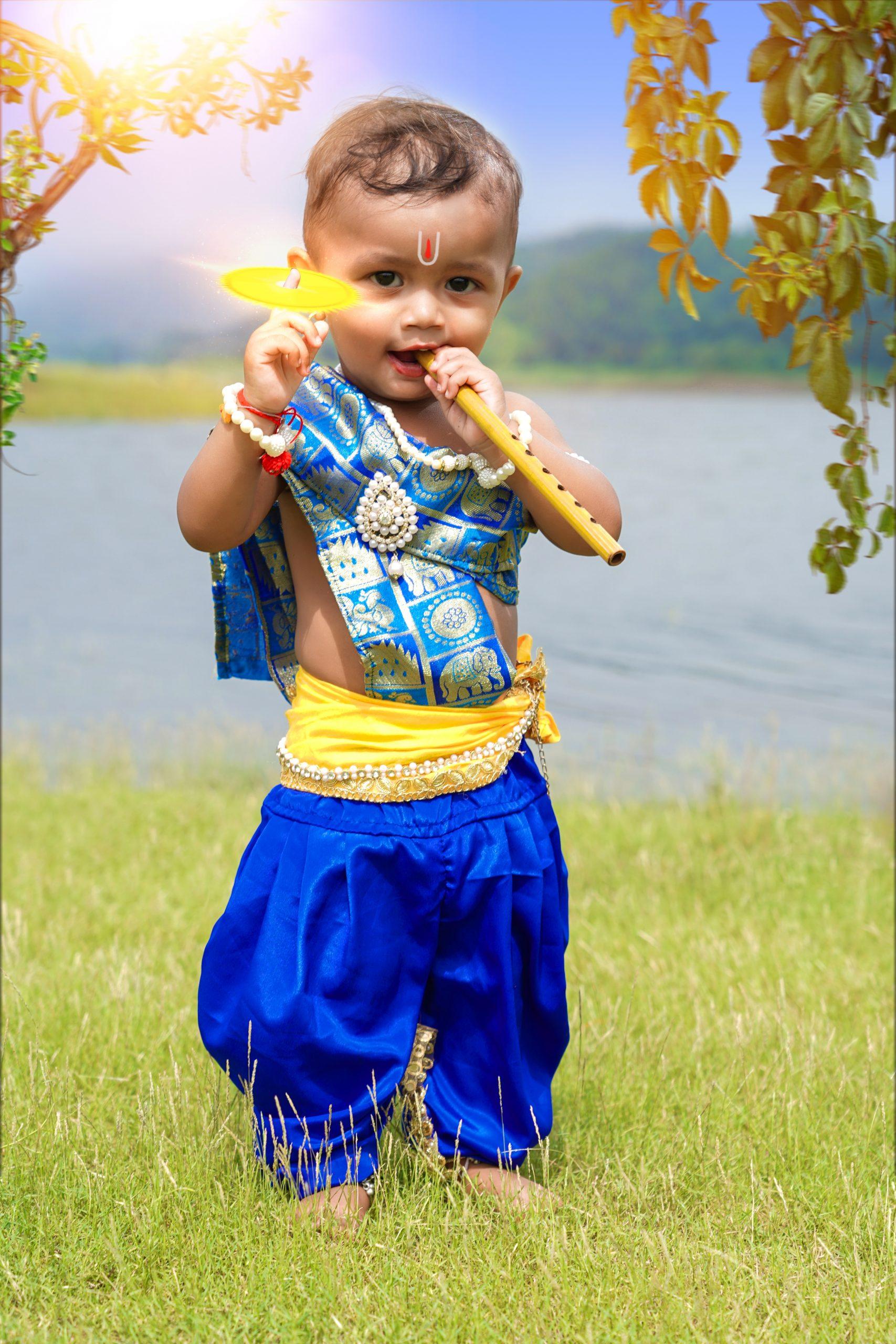Cute baby in lord Krishna getup