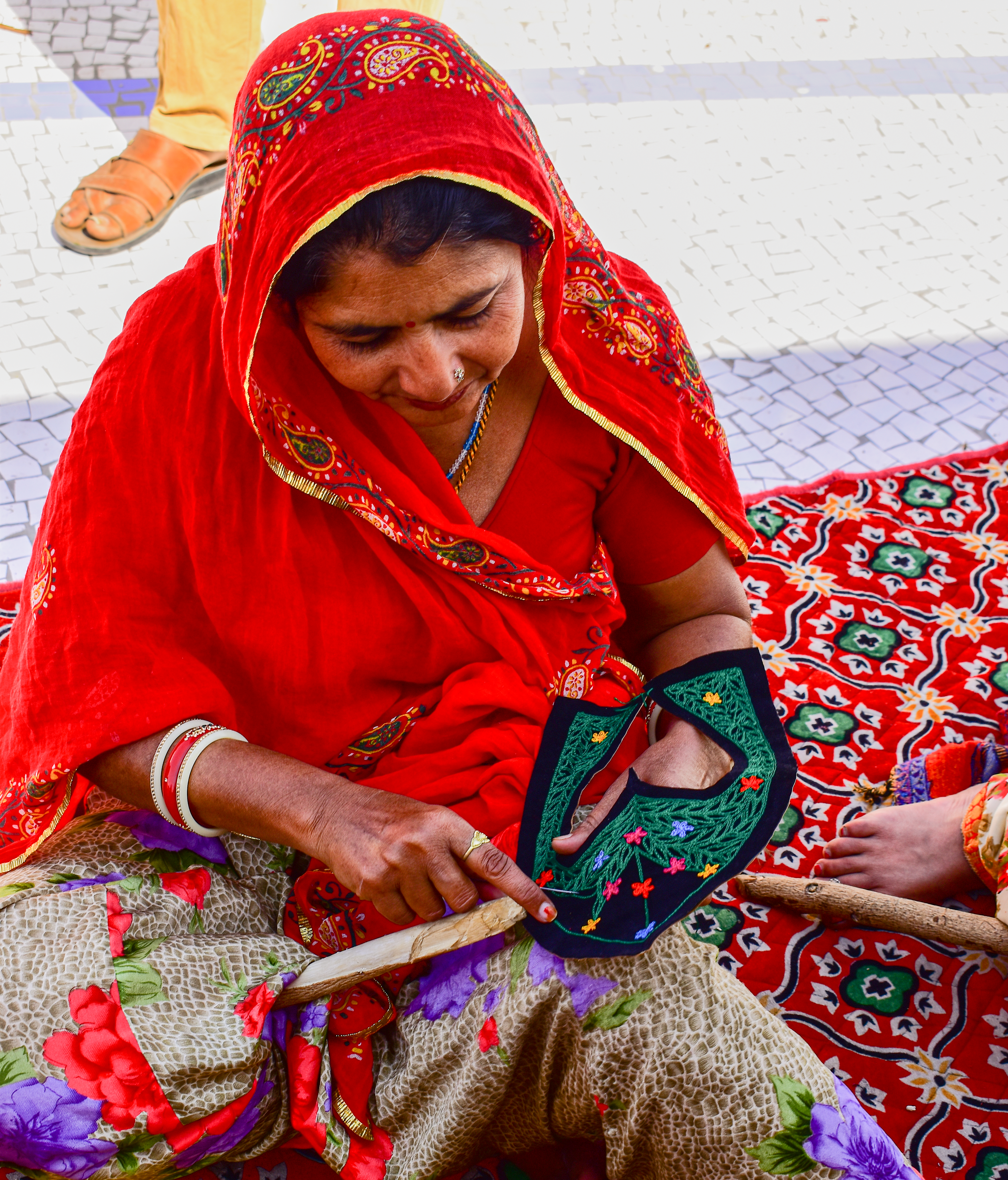 Female Indian Artisan Embroidery