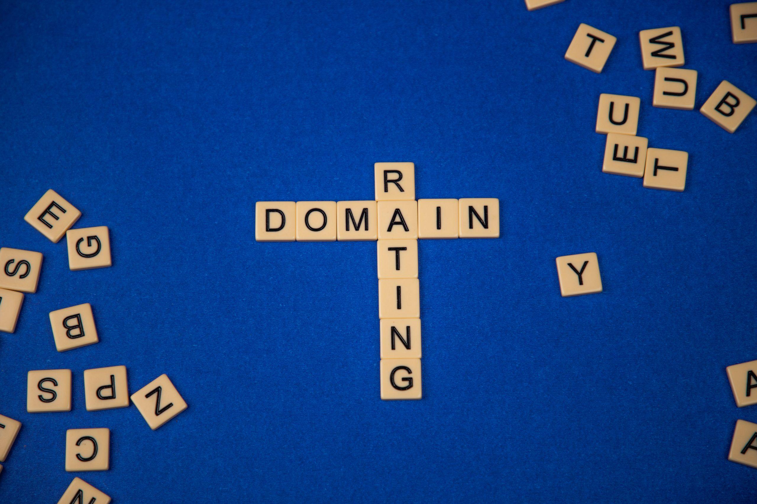 Domain rating written on scrabble