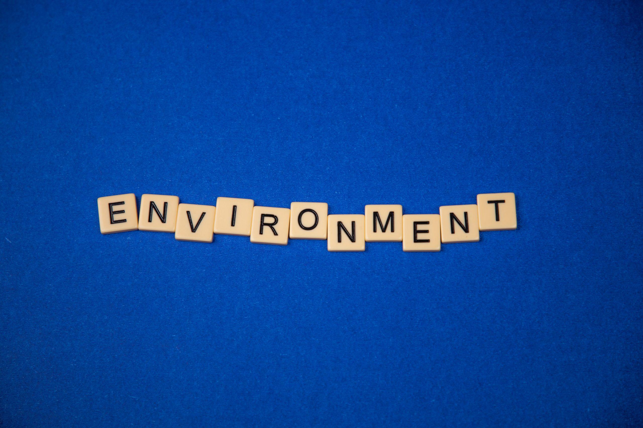 Environment written on scrabble