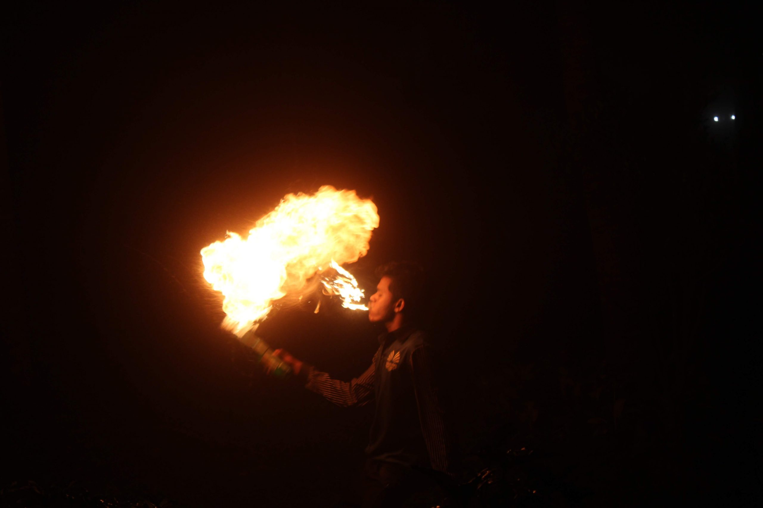 Man performing with fire