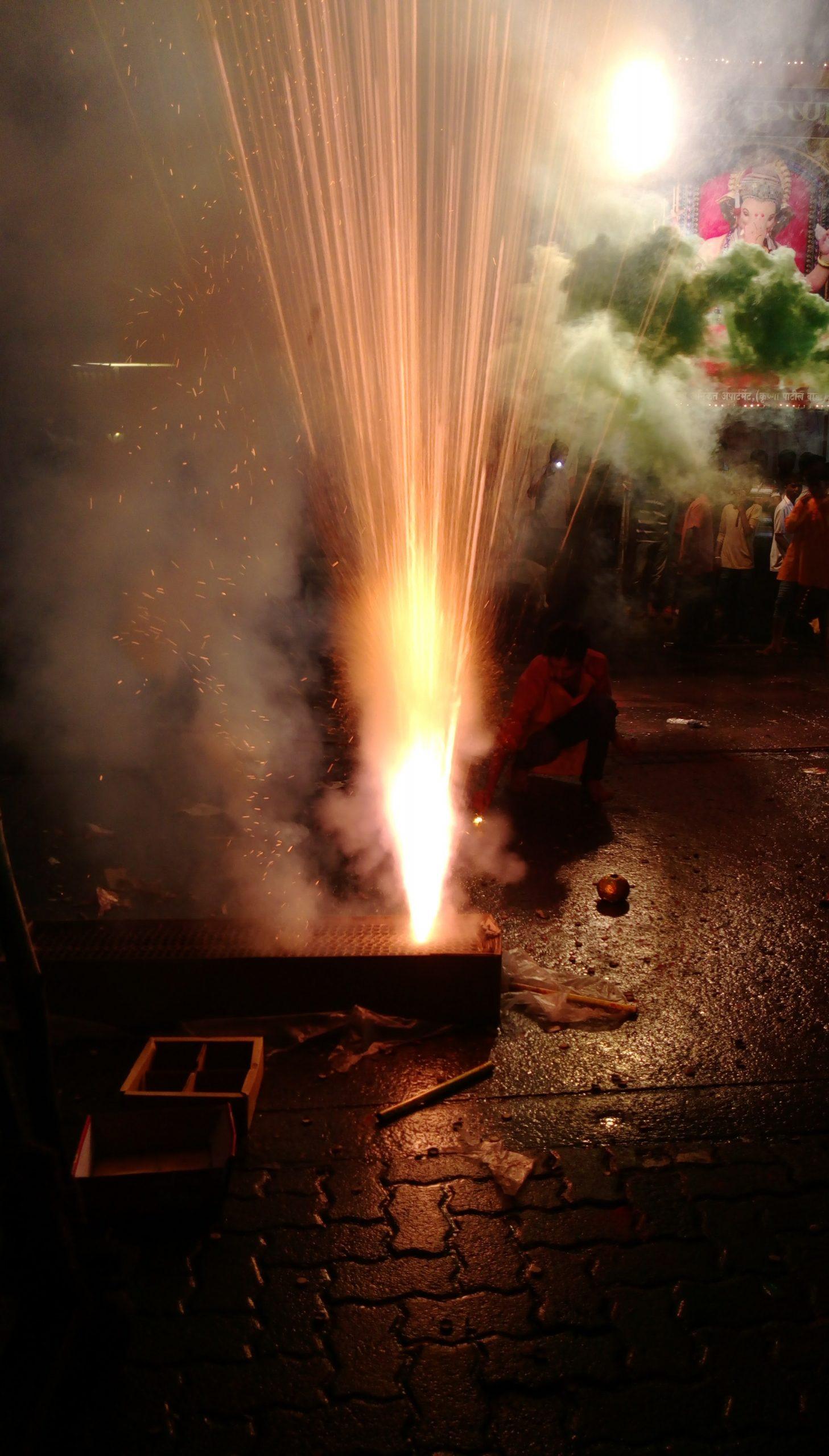 Fireworks at Ganpati festival.