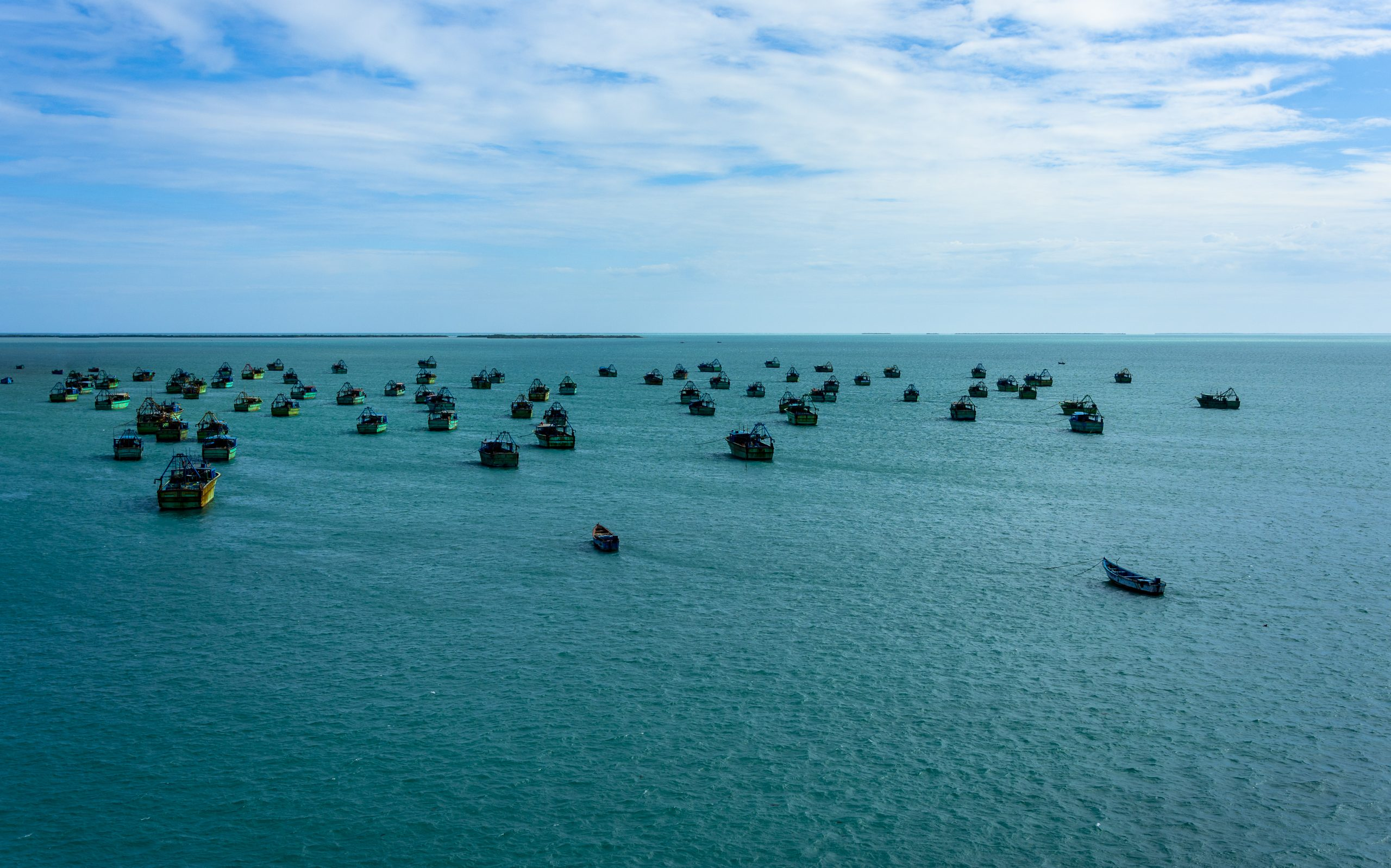 Fishing boats in a sea