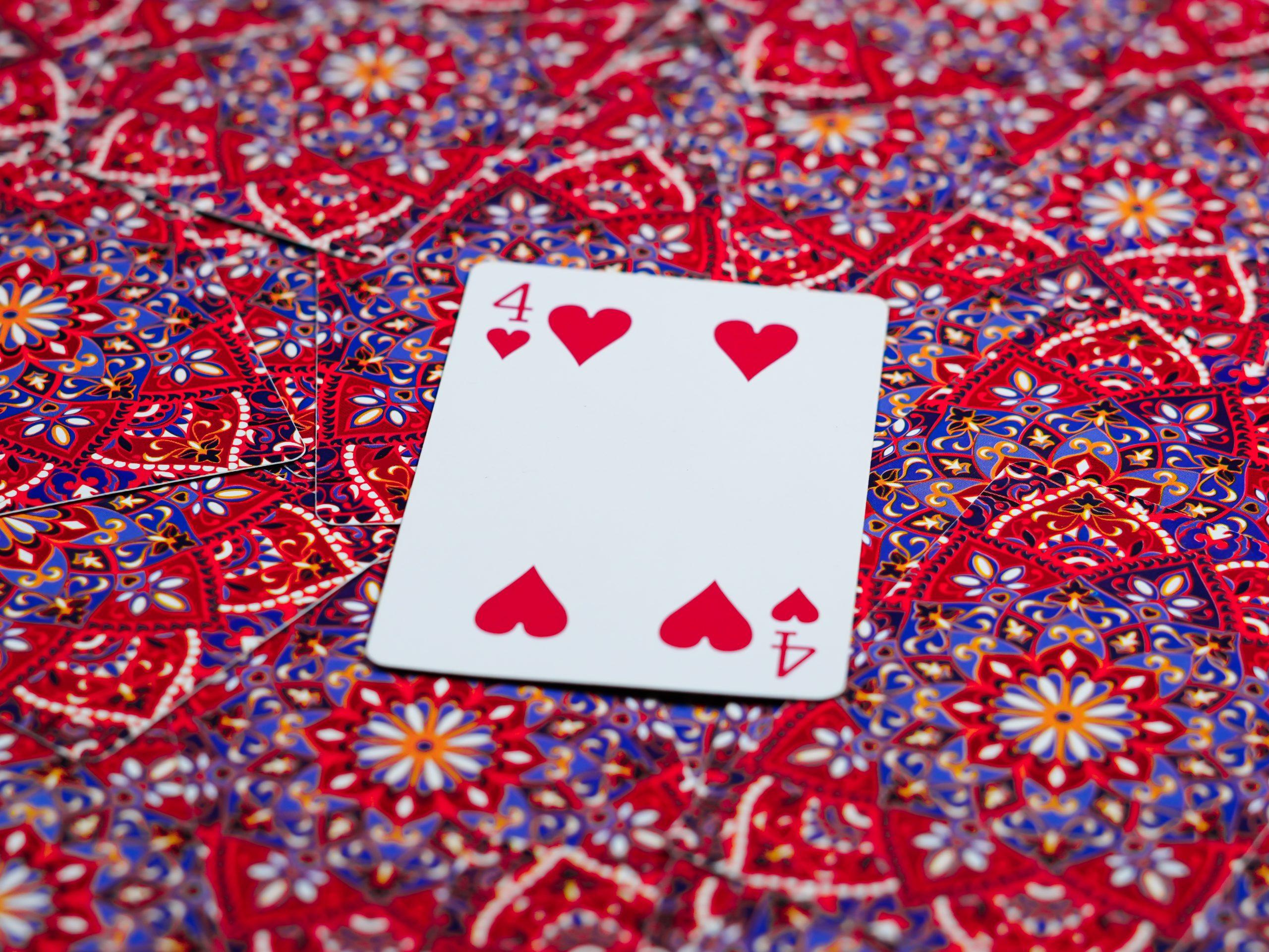 Four of Heart Card on Focus