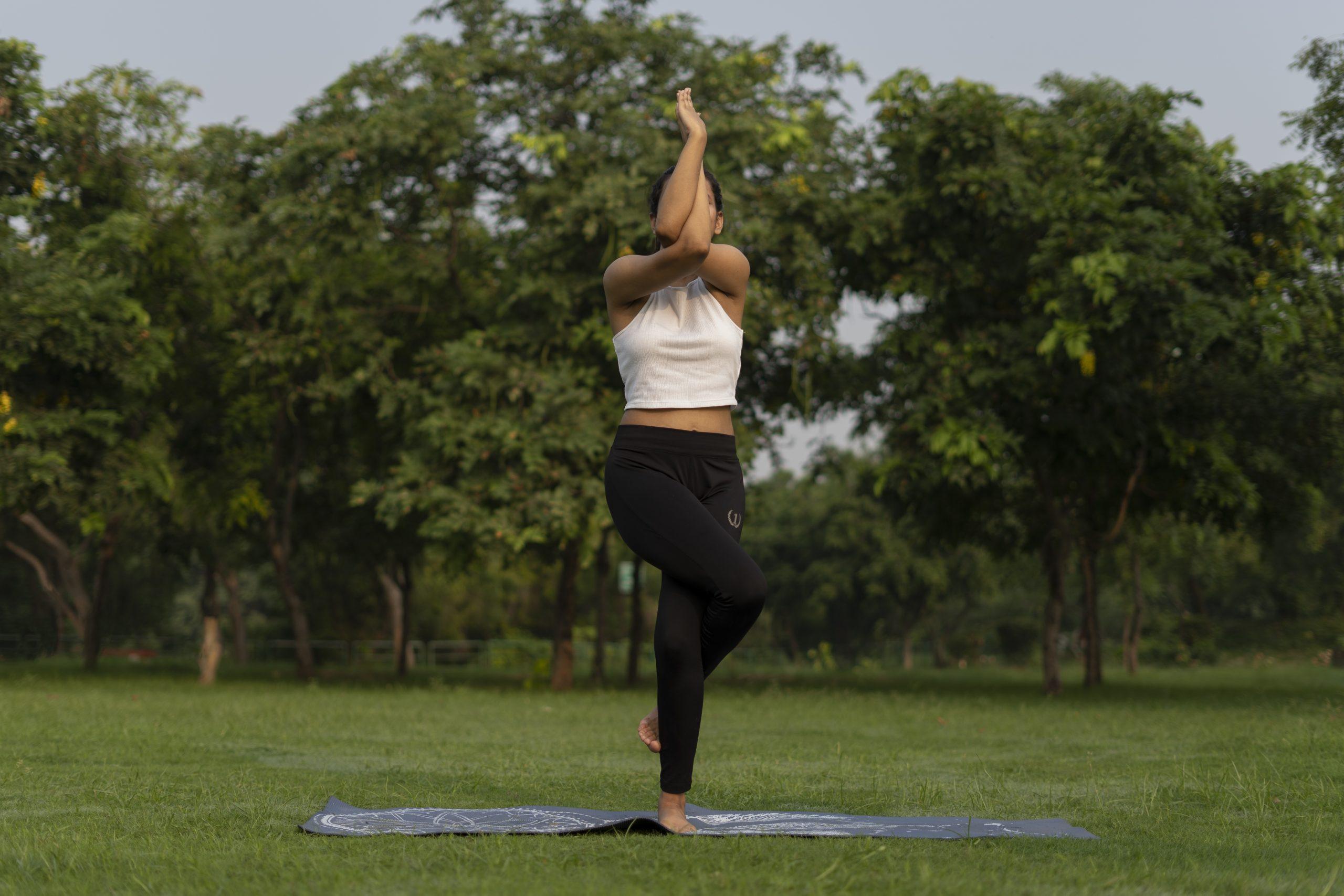 Garudasana front angle (eagle yoga pose)