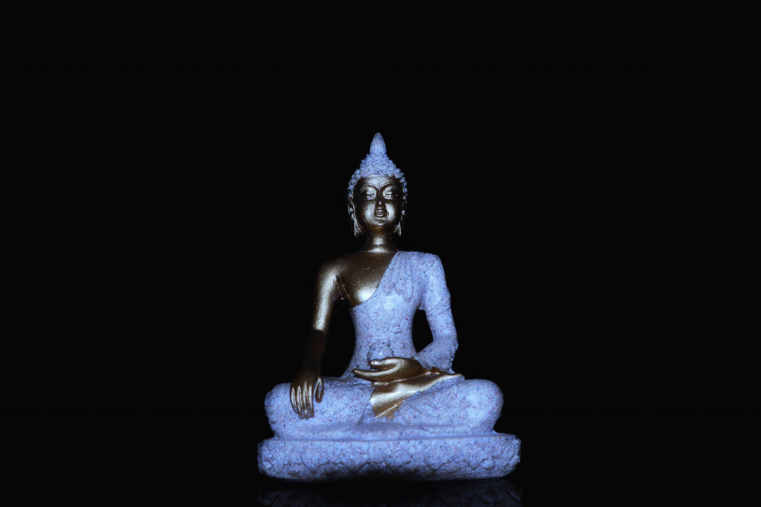 Gautama buddha statue on black background