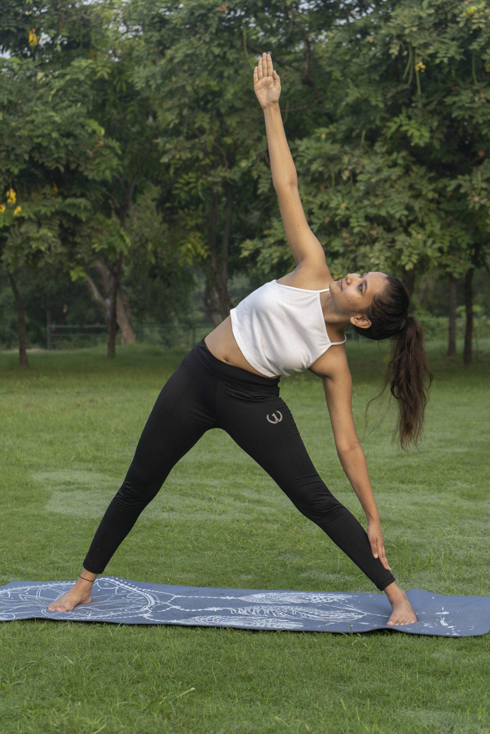 Girl Doing Triangle Pose in Yoga