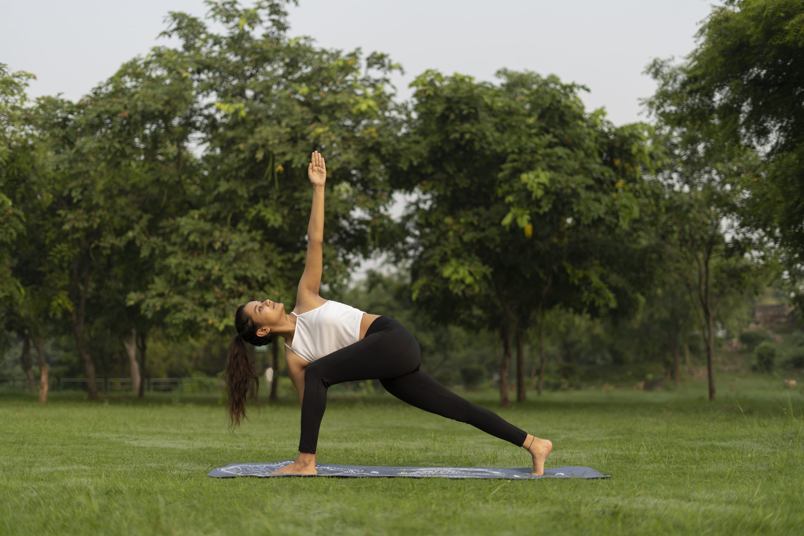 Girl Doing a Extended Side Angle Pose