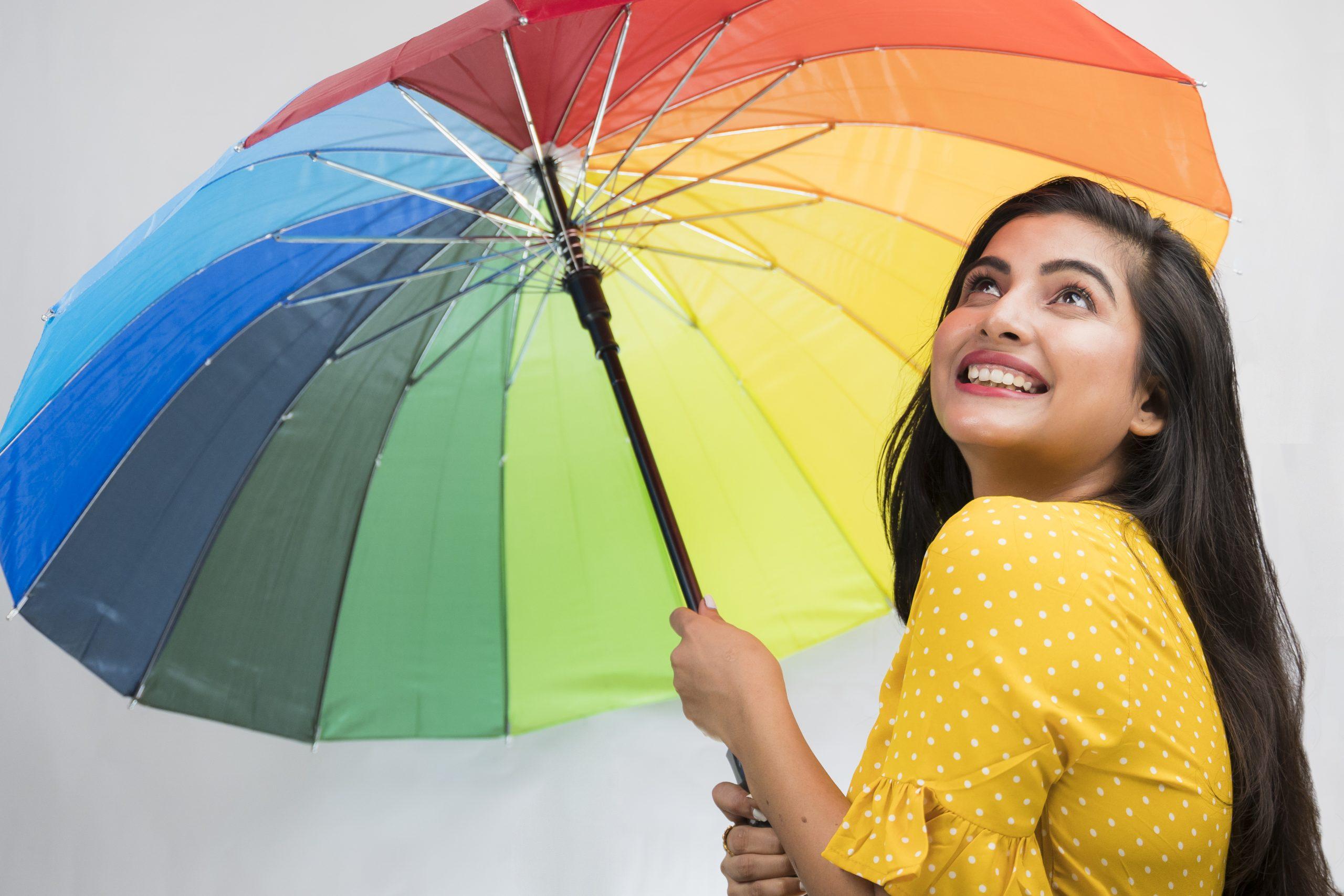 Girl with a colourful umbrella