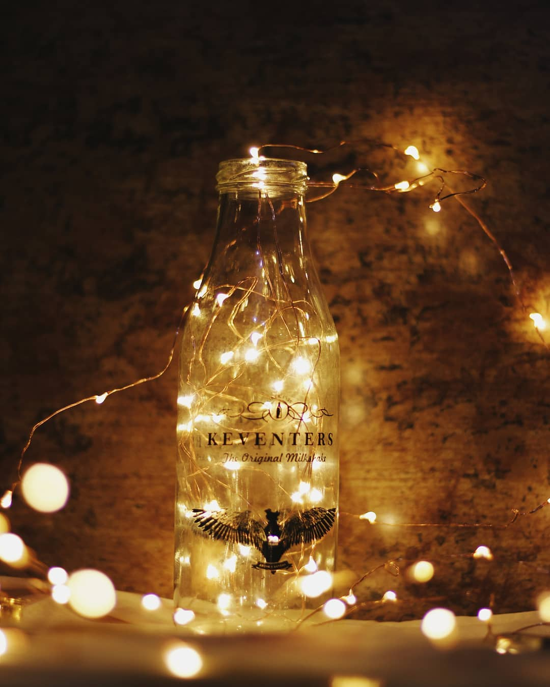 Glass bottles with fairy lights