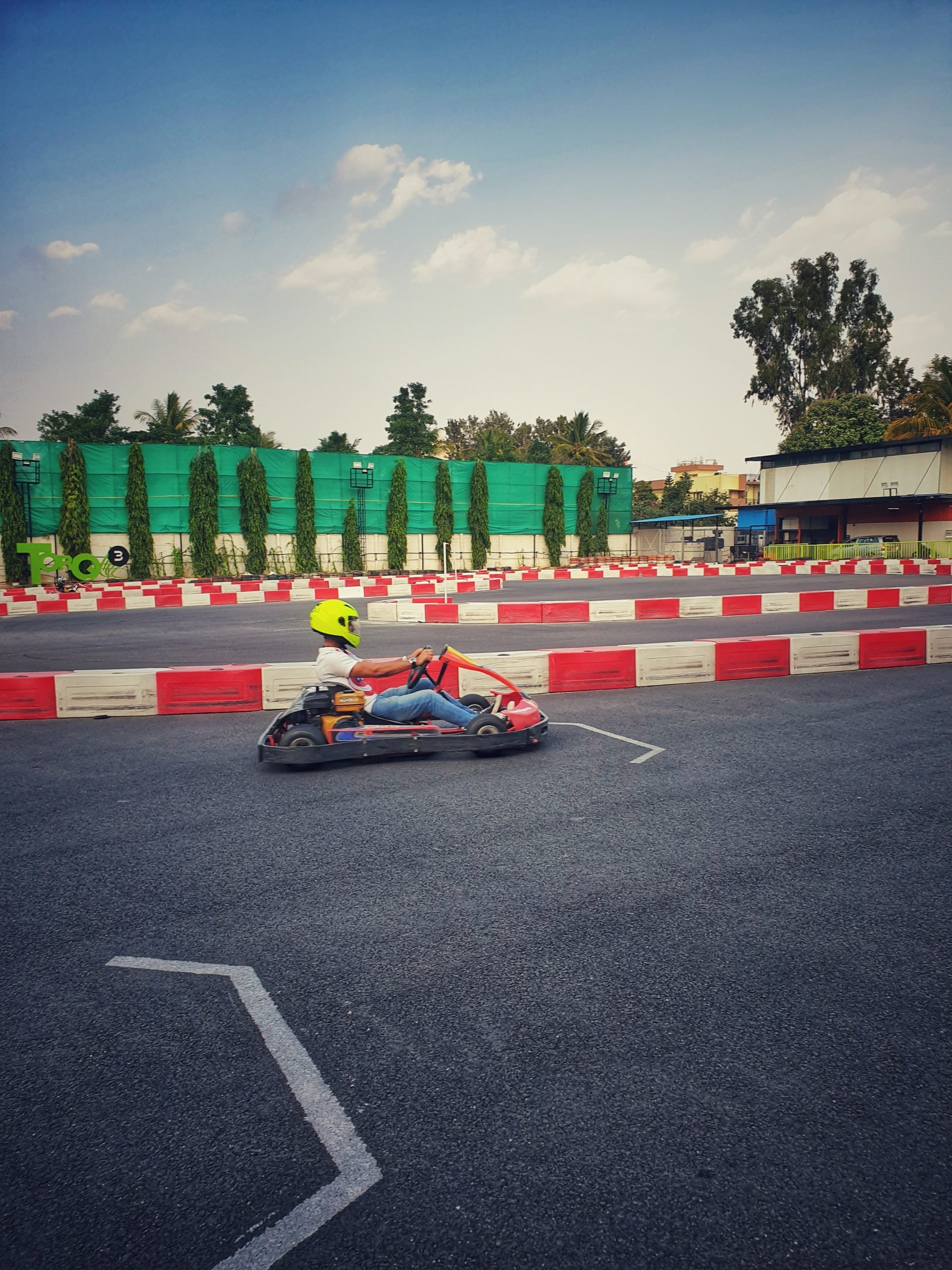A man Go-Karting in Bangalore.