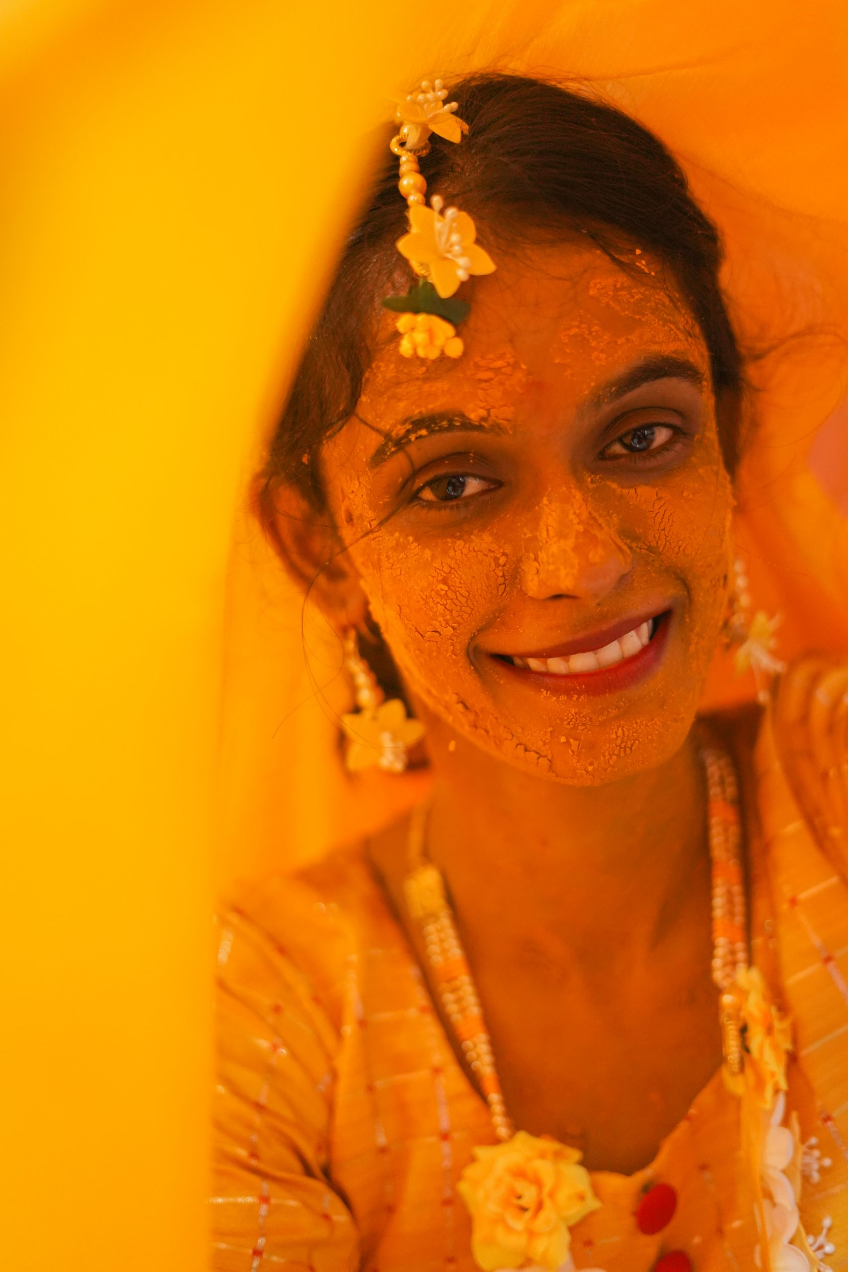 Haldi ceremony woman portrait