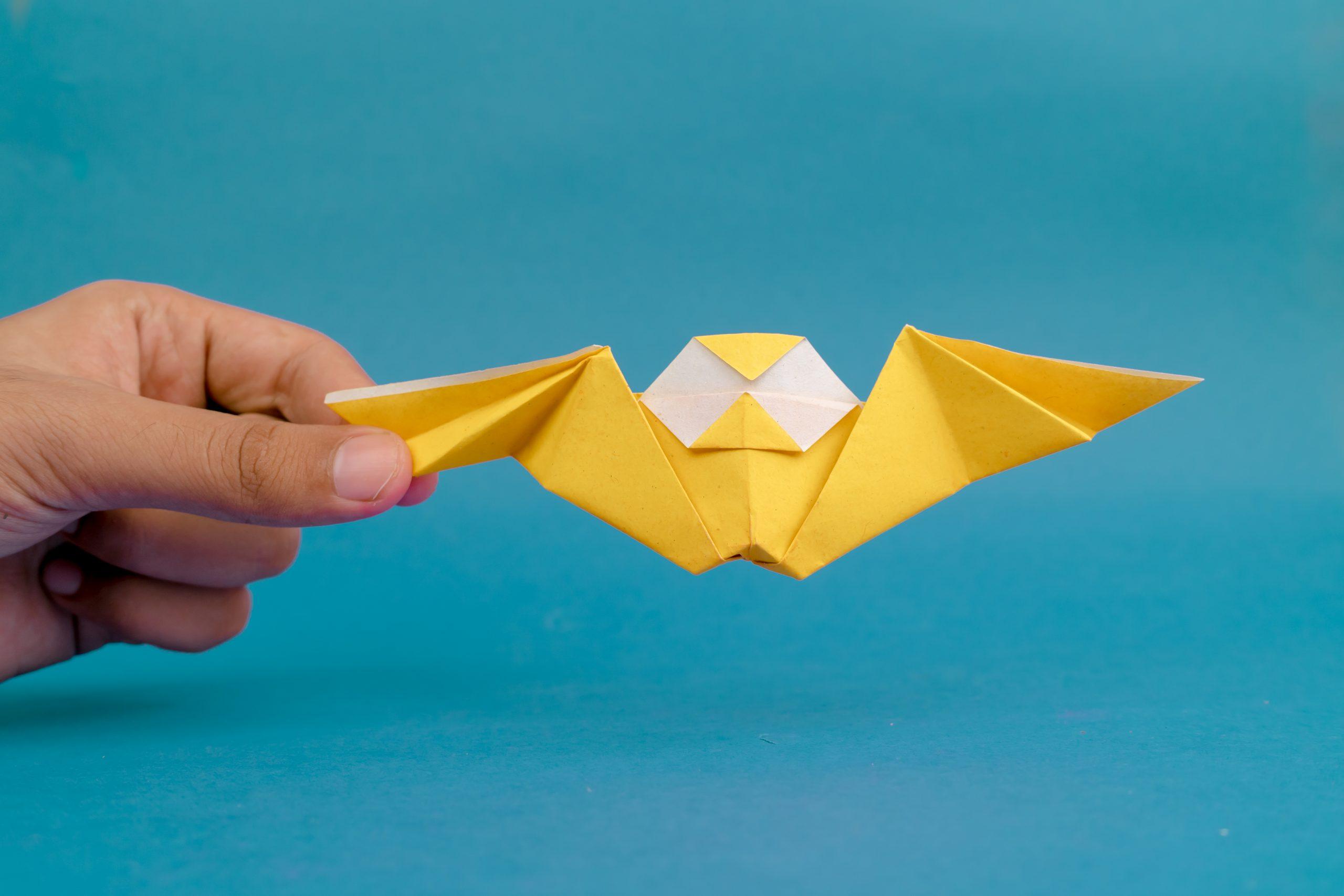Hand holding origami bat