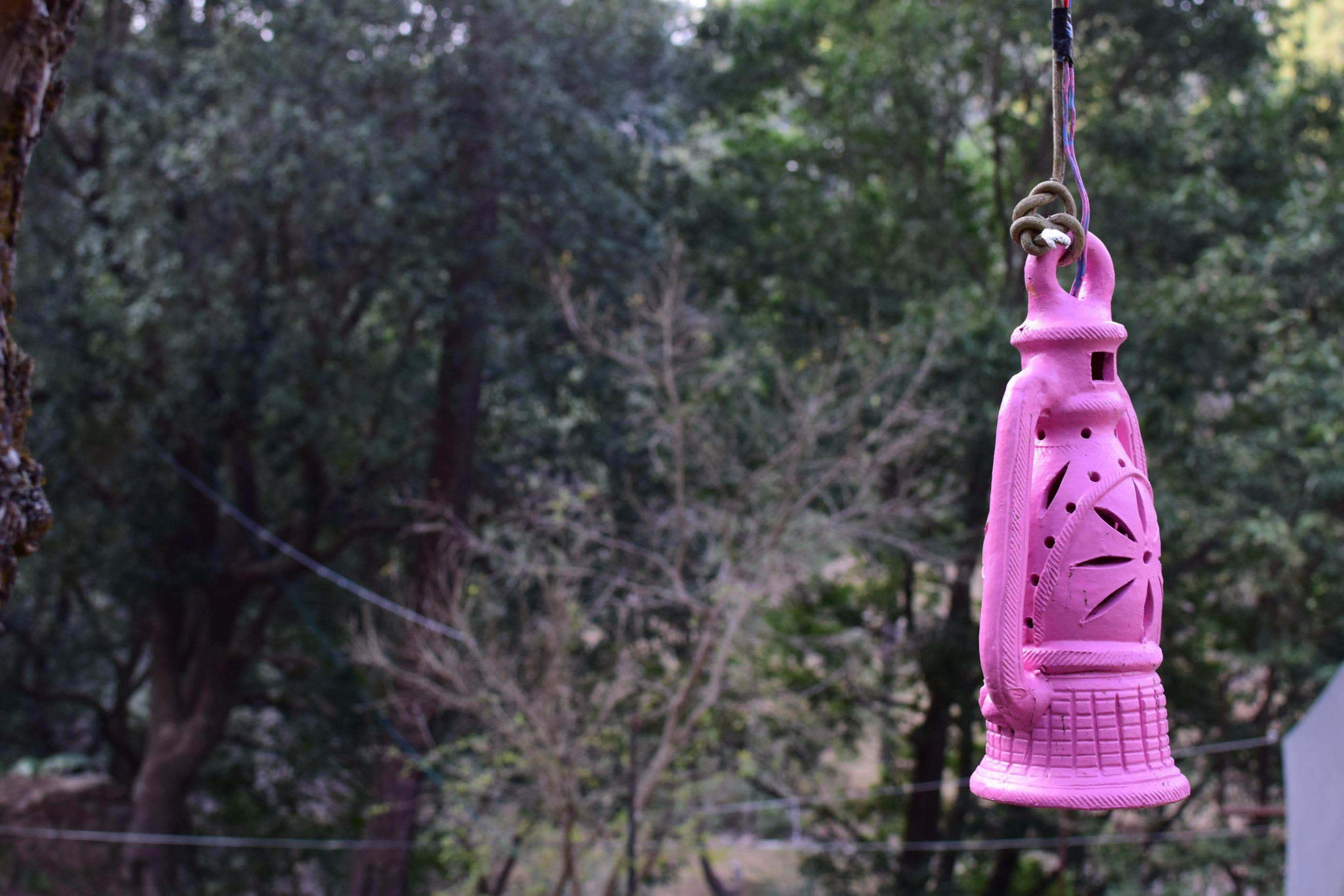 Hanging clay lantern