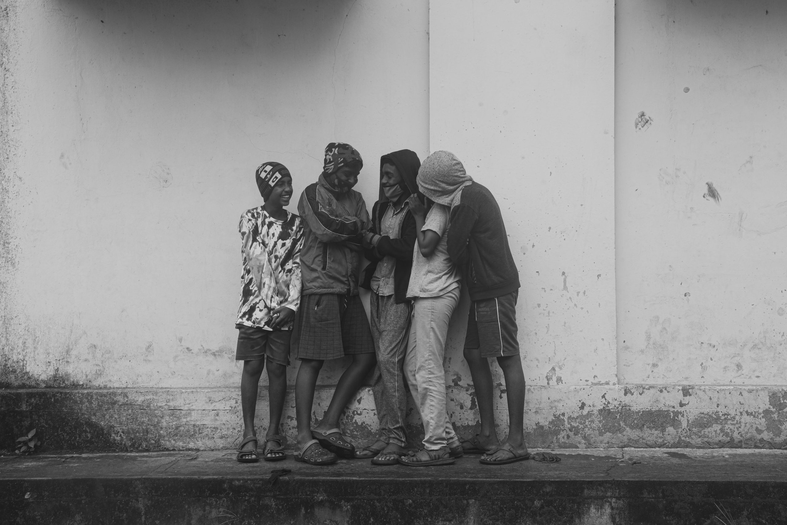A group of friends having a conversation