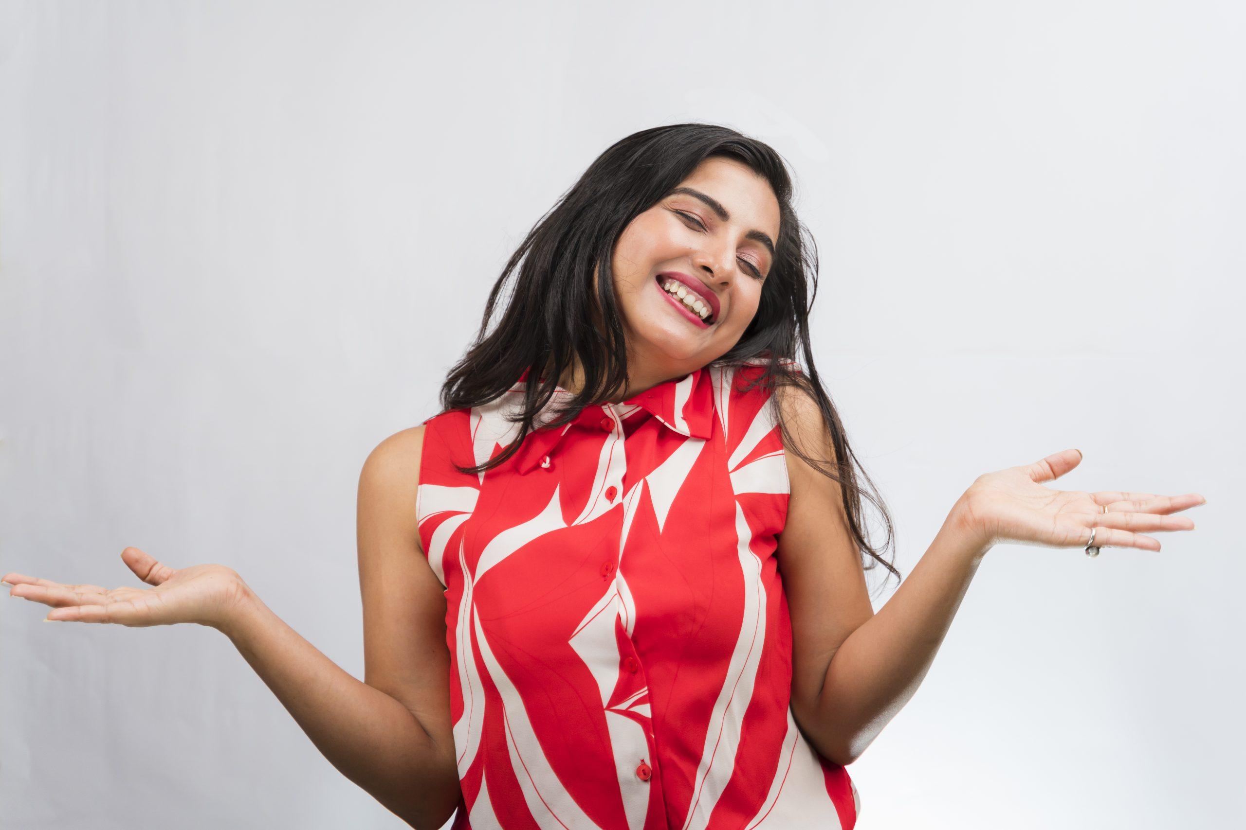 Happy indian girl Open Hands