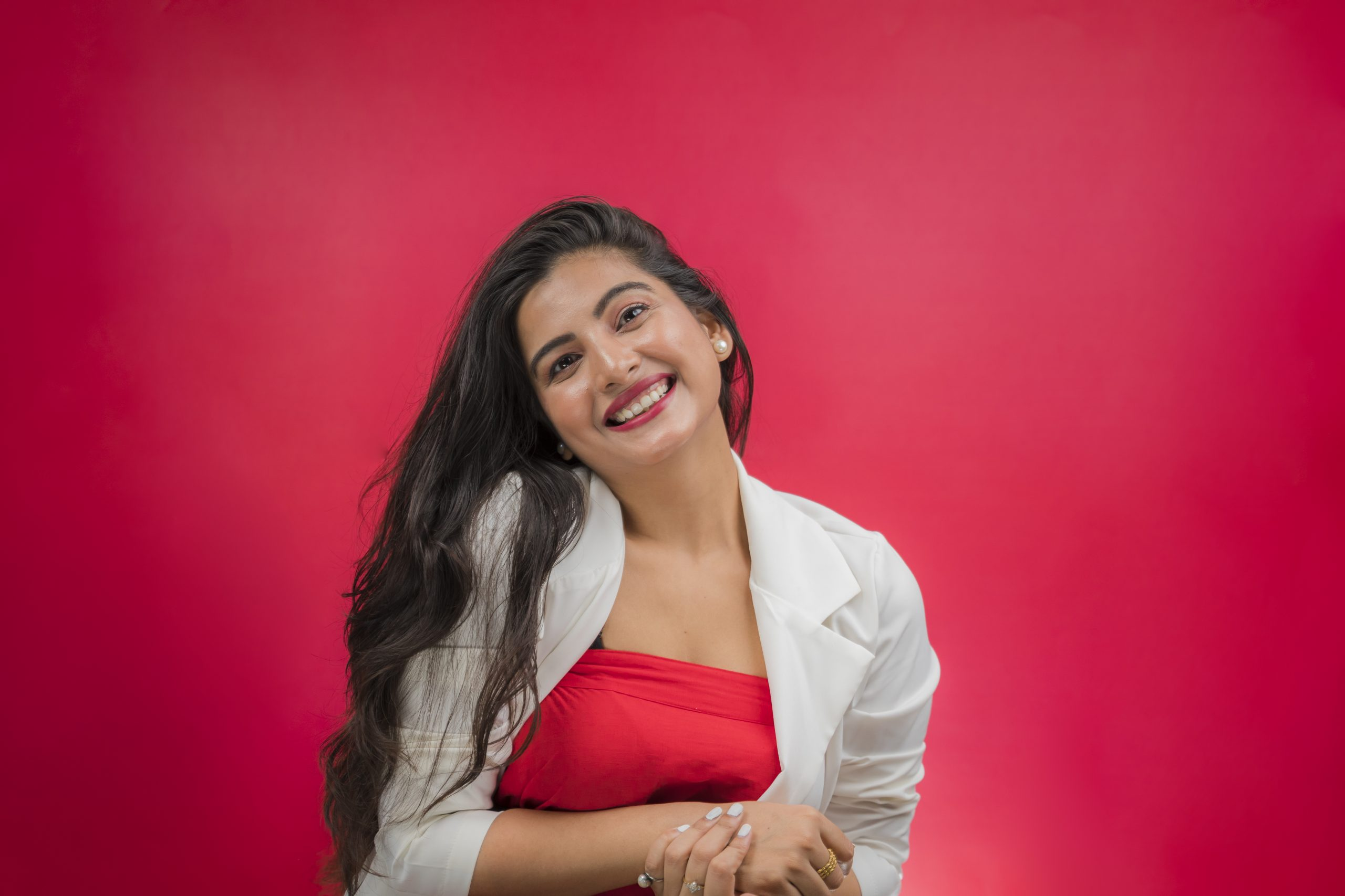 Happy indian girl in white dress