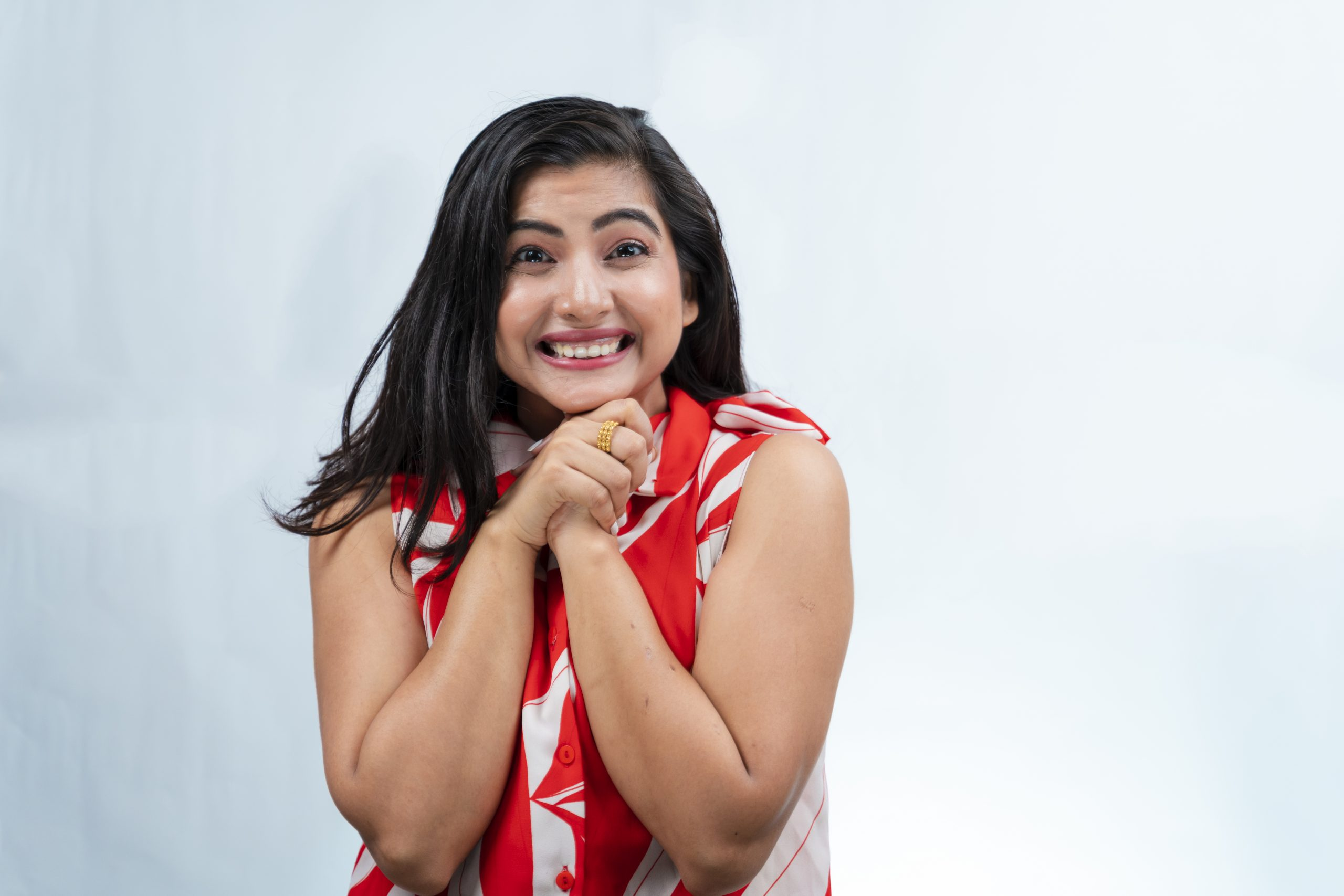 Happy indian girl on White Background