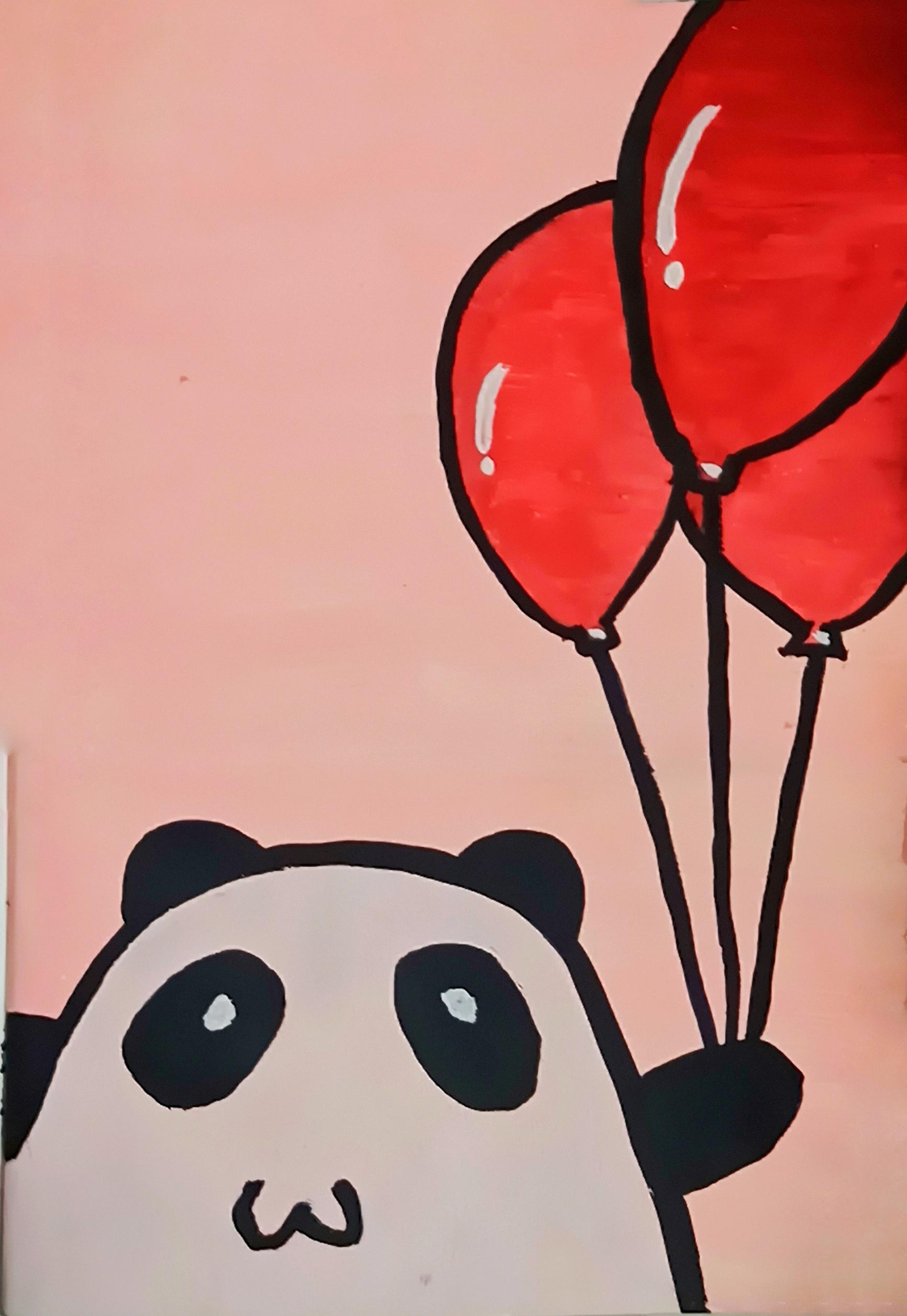Happy panda drawing