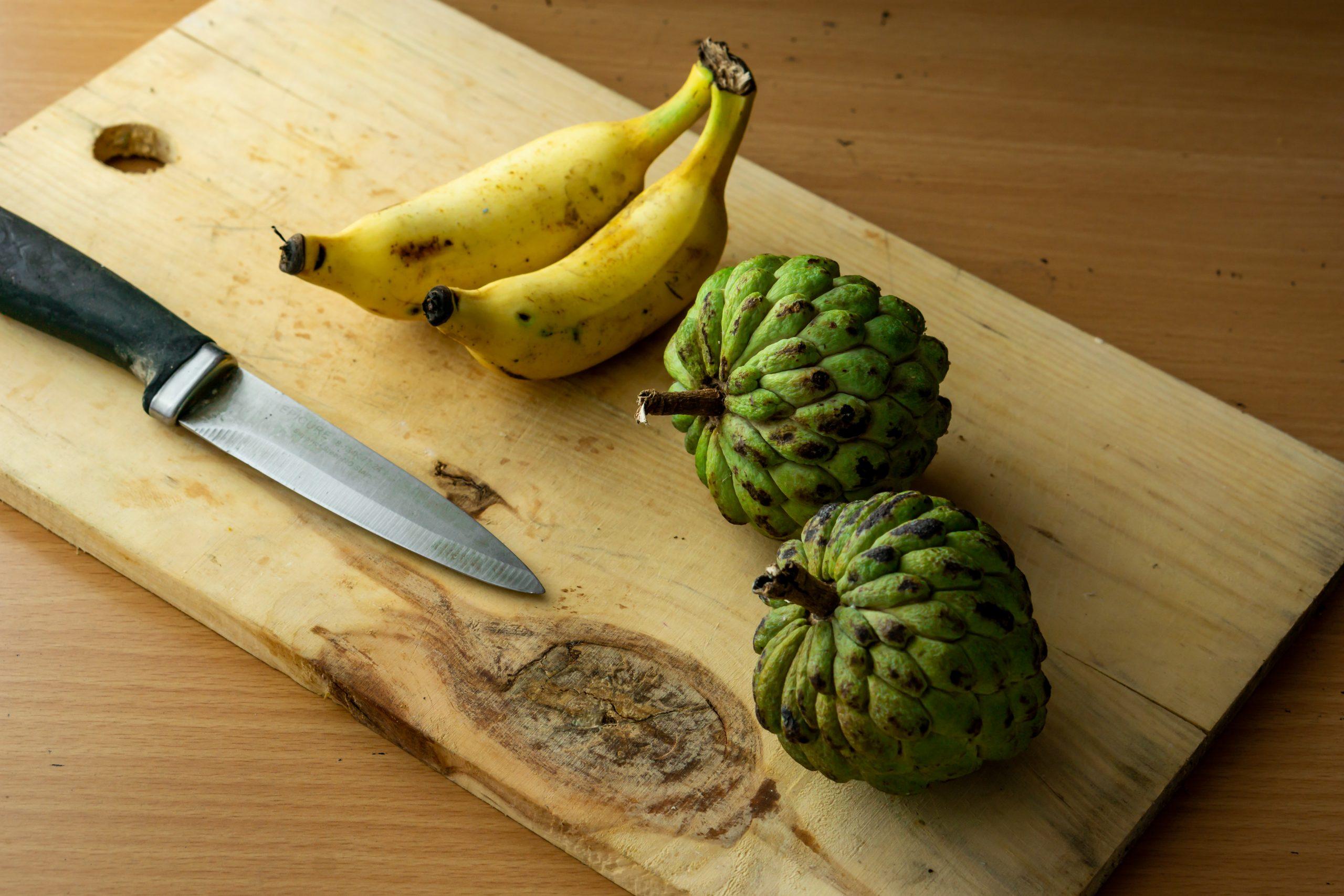 Healthy Sugar-apple and banana fruits