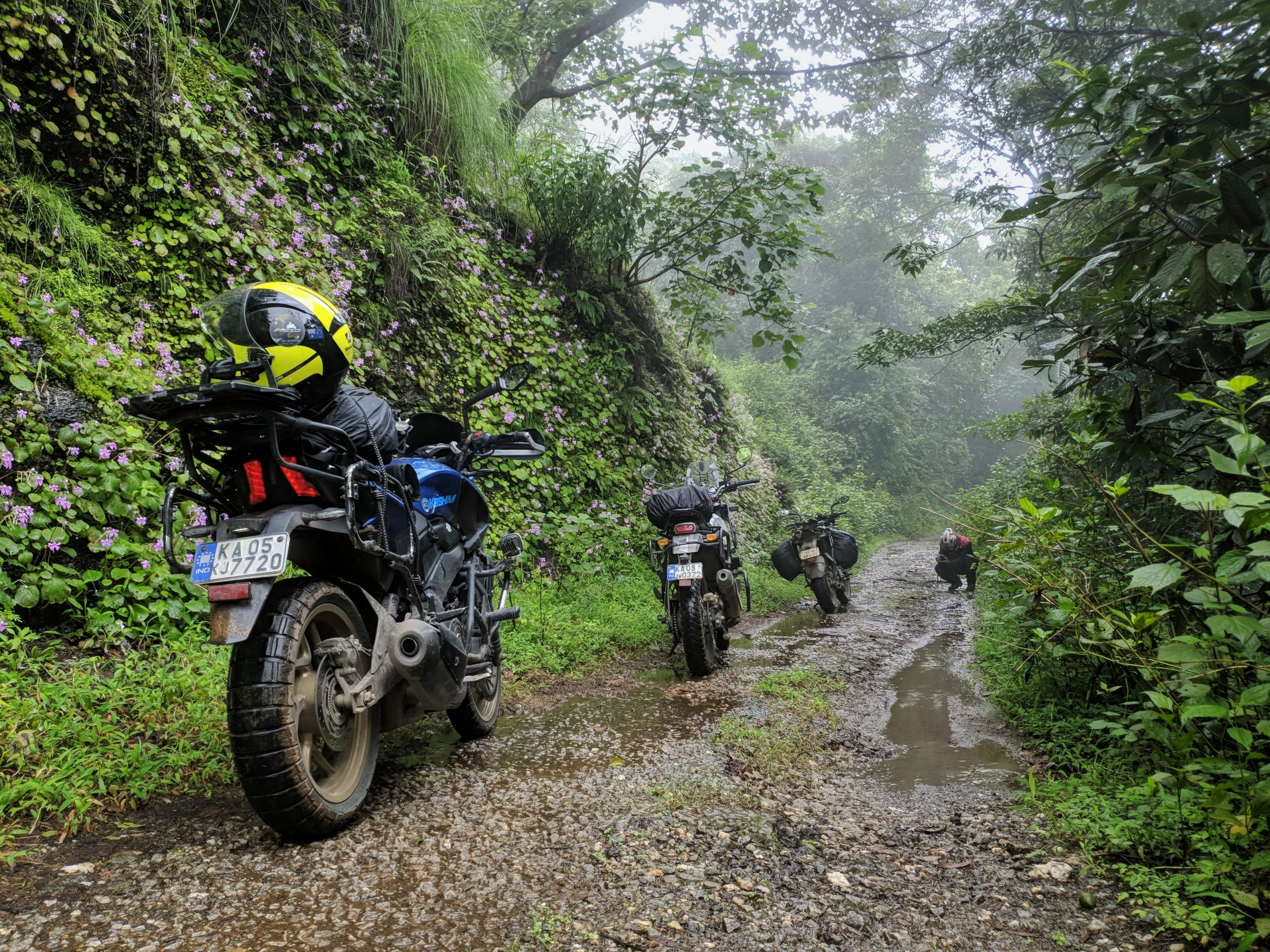 motorcycles on a path
