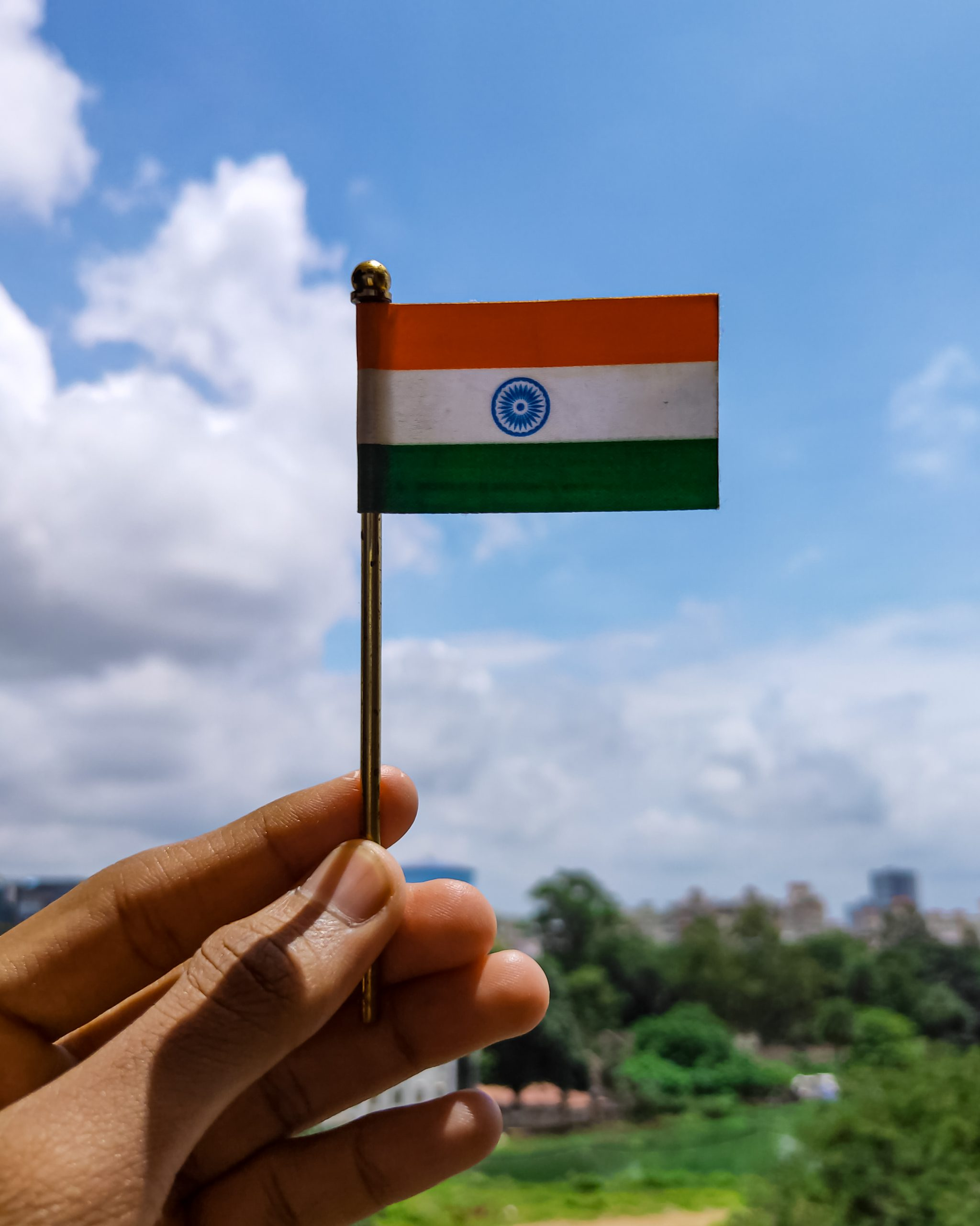 Holding Indian flag in hand