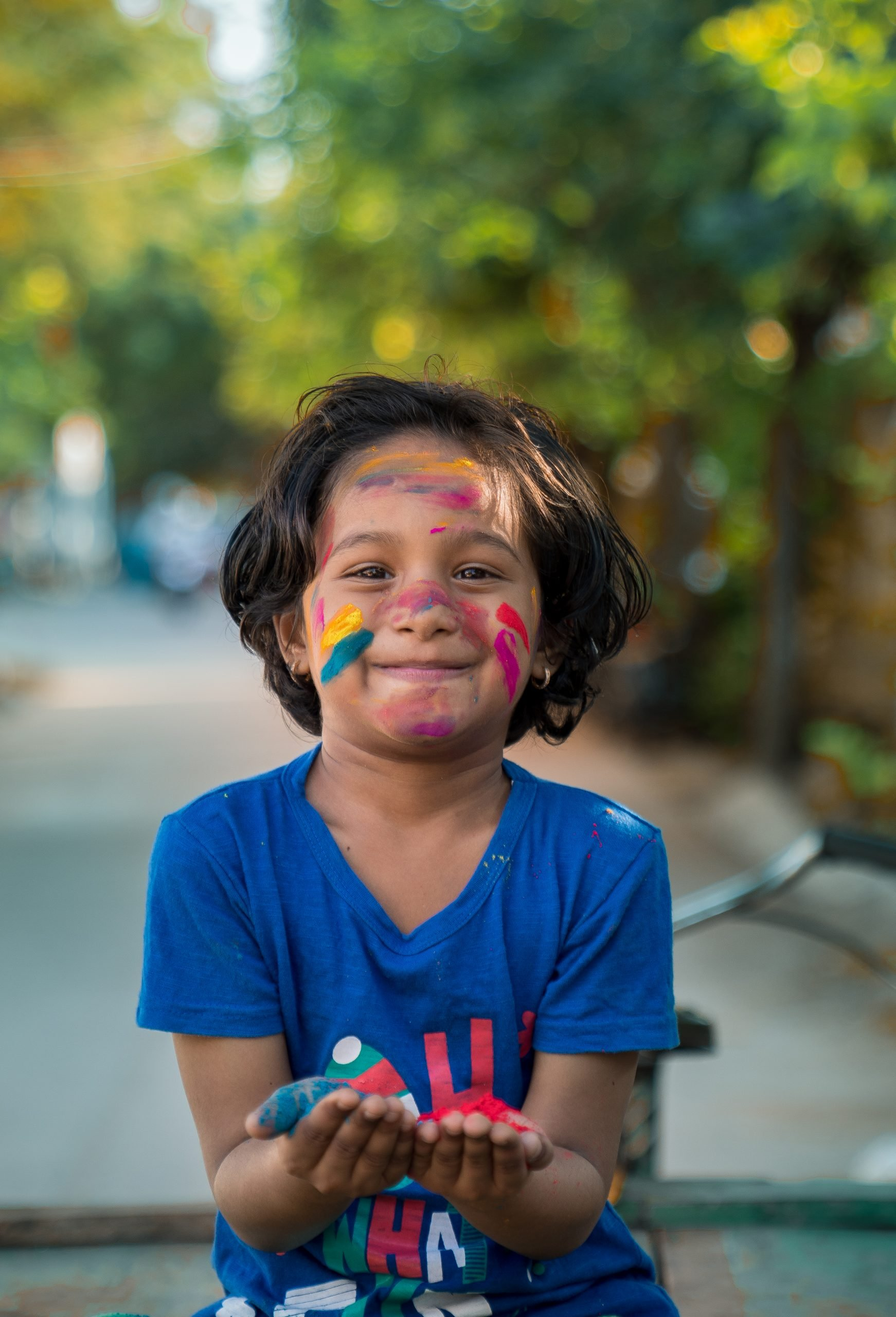 Holi colours with a child