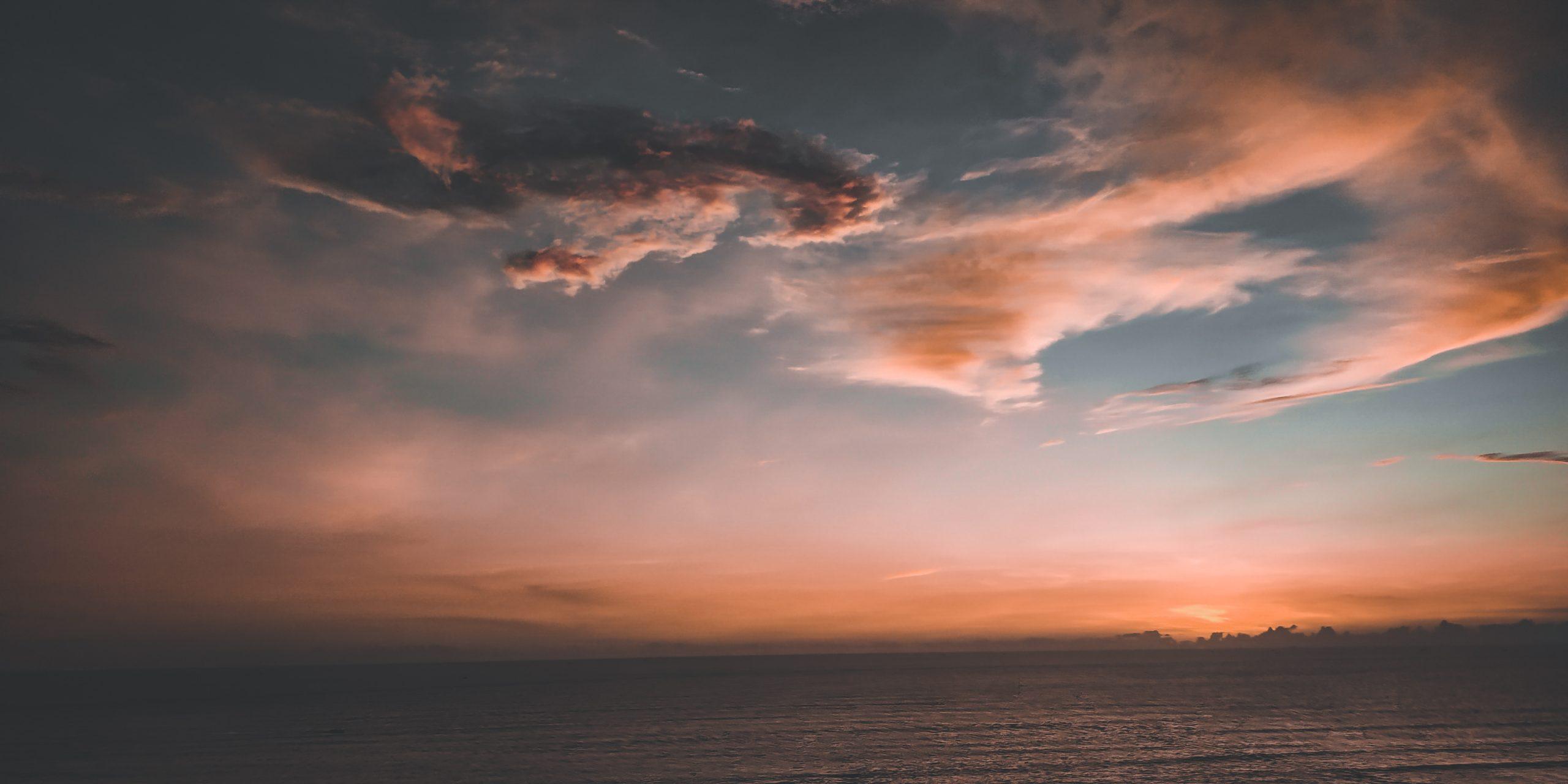 Colorful sky over a sea