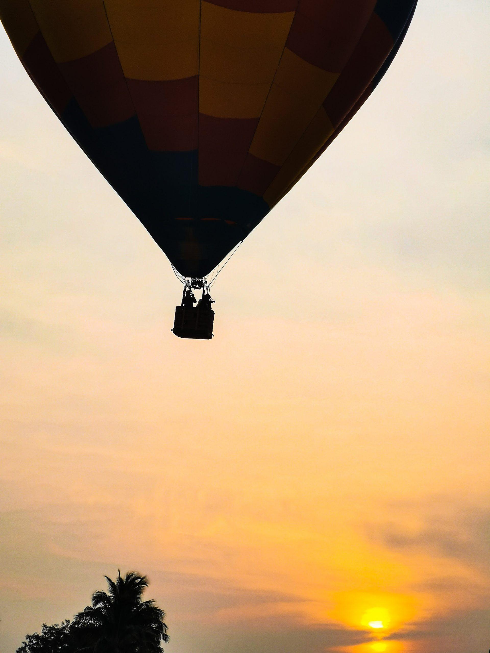 Hot Air Balloon Flight During Sunset