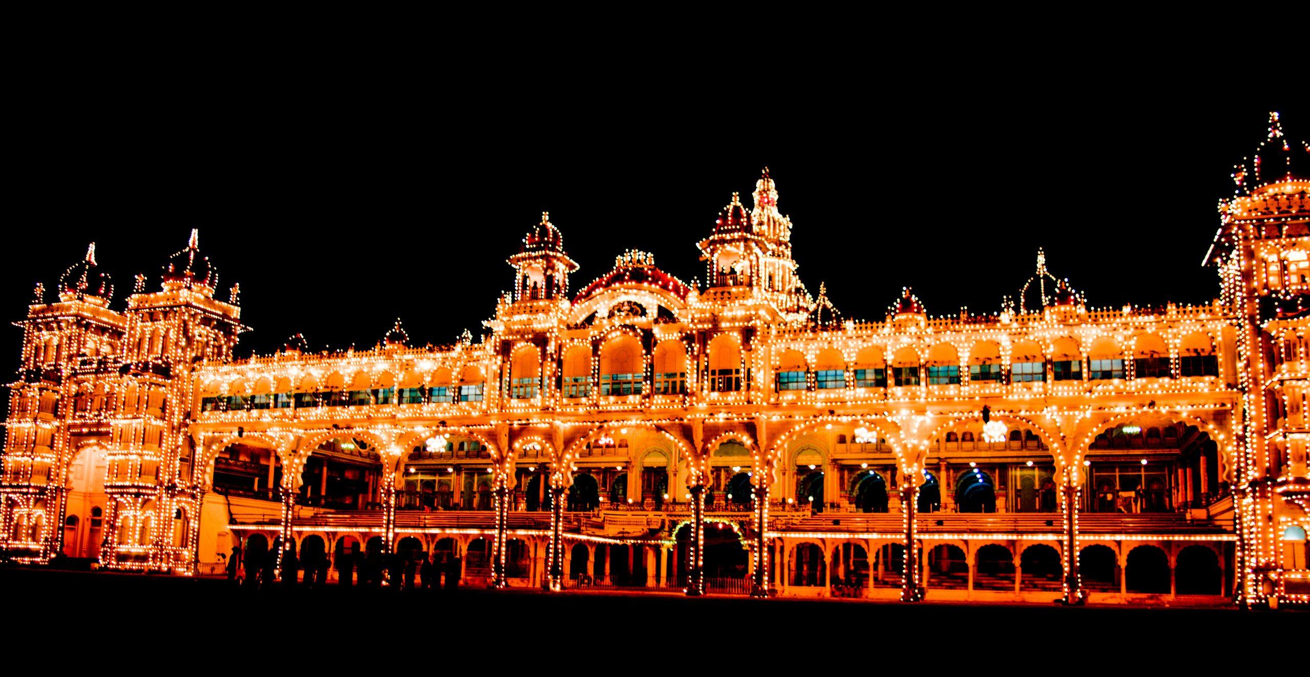 Illuminated Mysore Palace in Karnataka