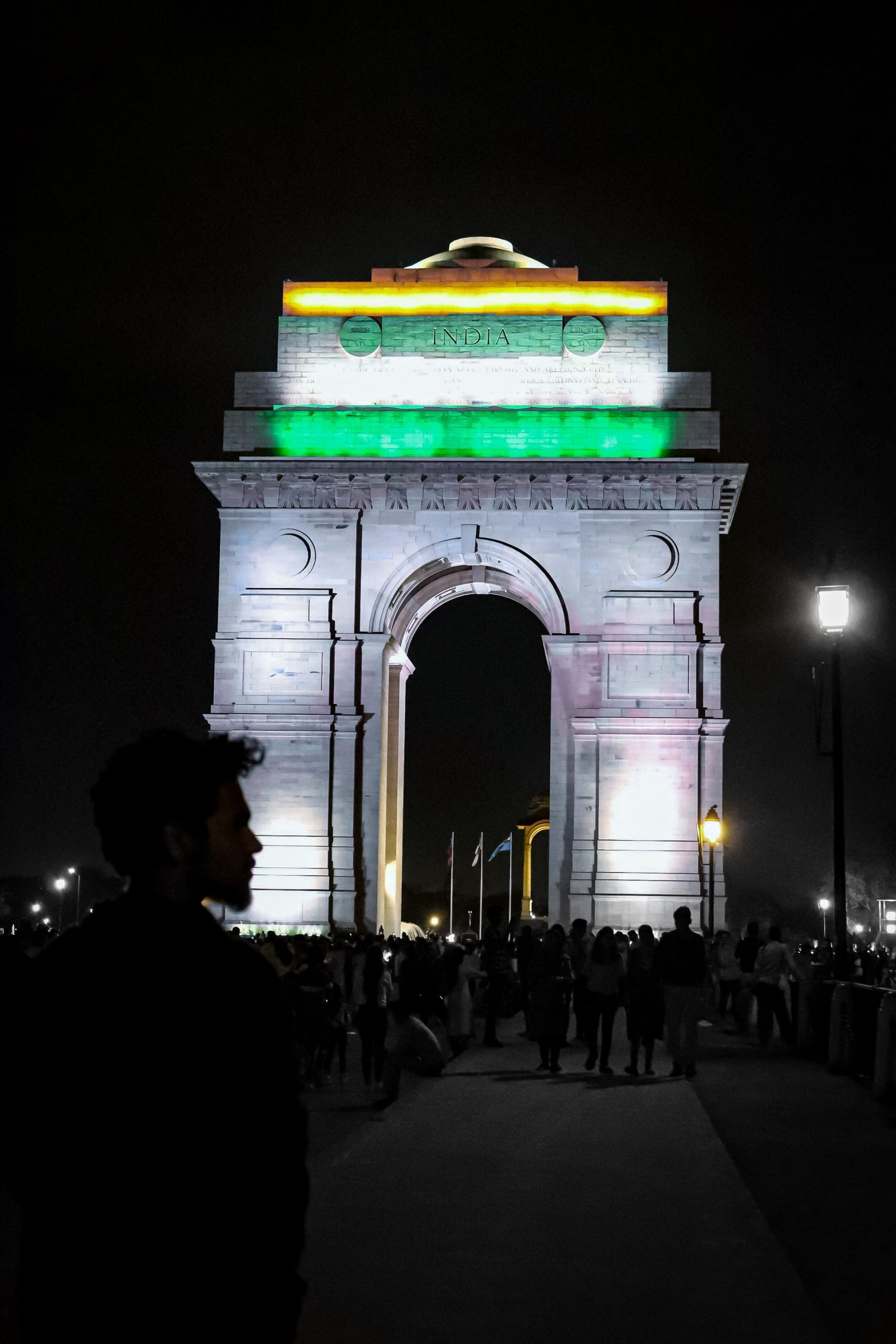 india gate lit with tricolor
