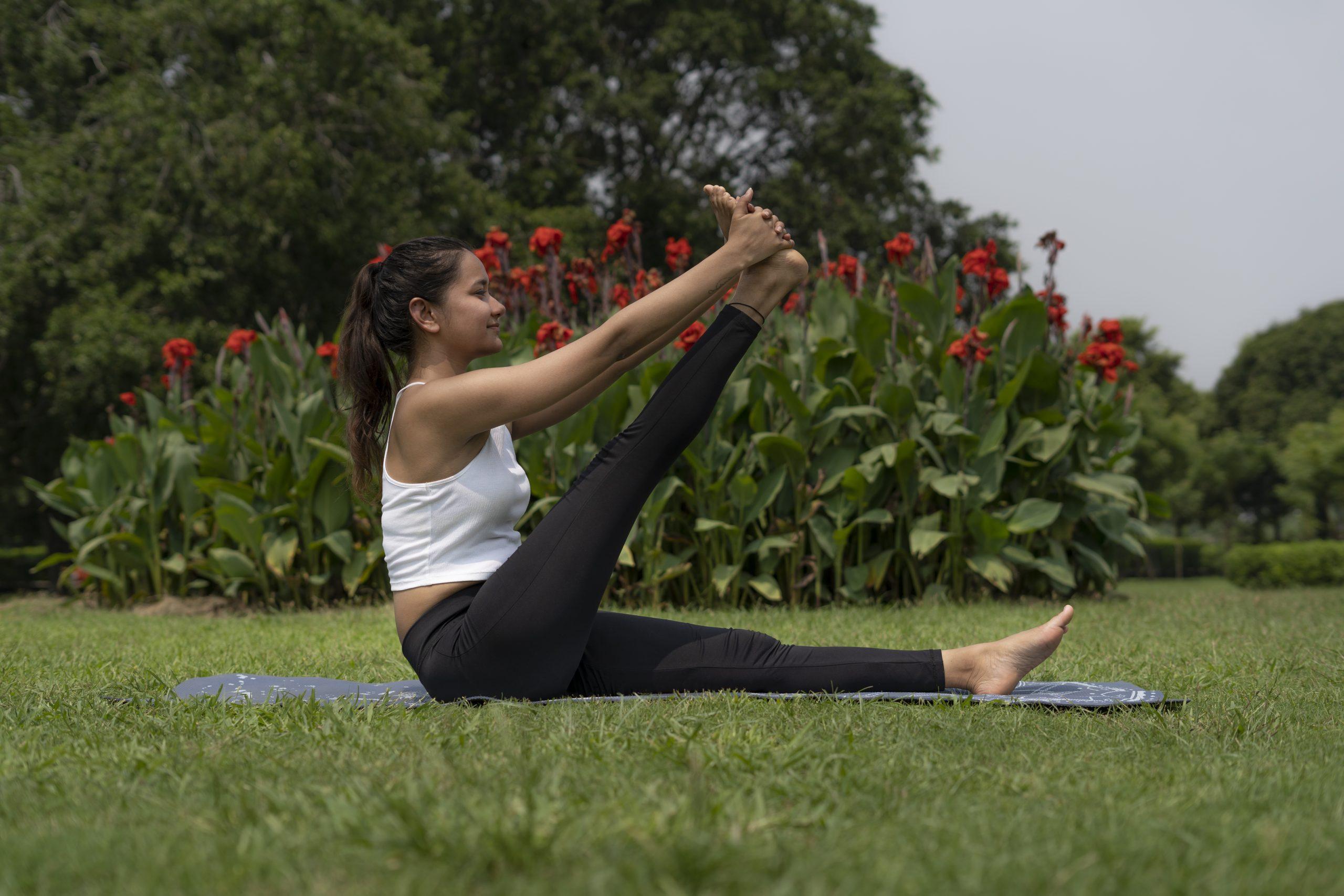 Indian Girl Yoga Pose on Mat