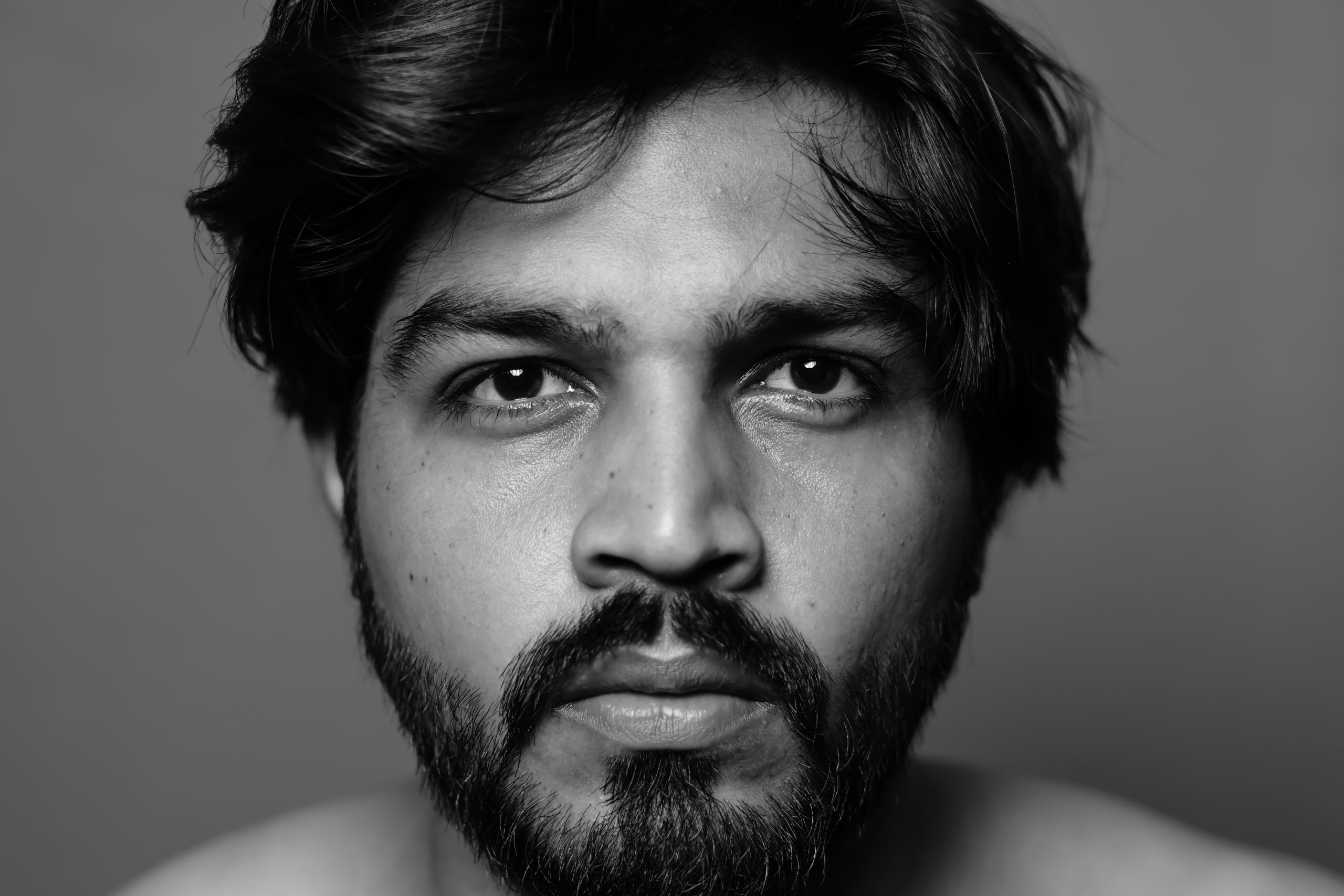 Indian Man Portrait on Black and White