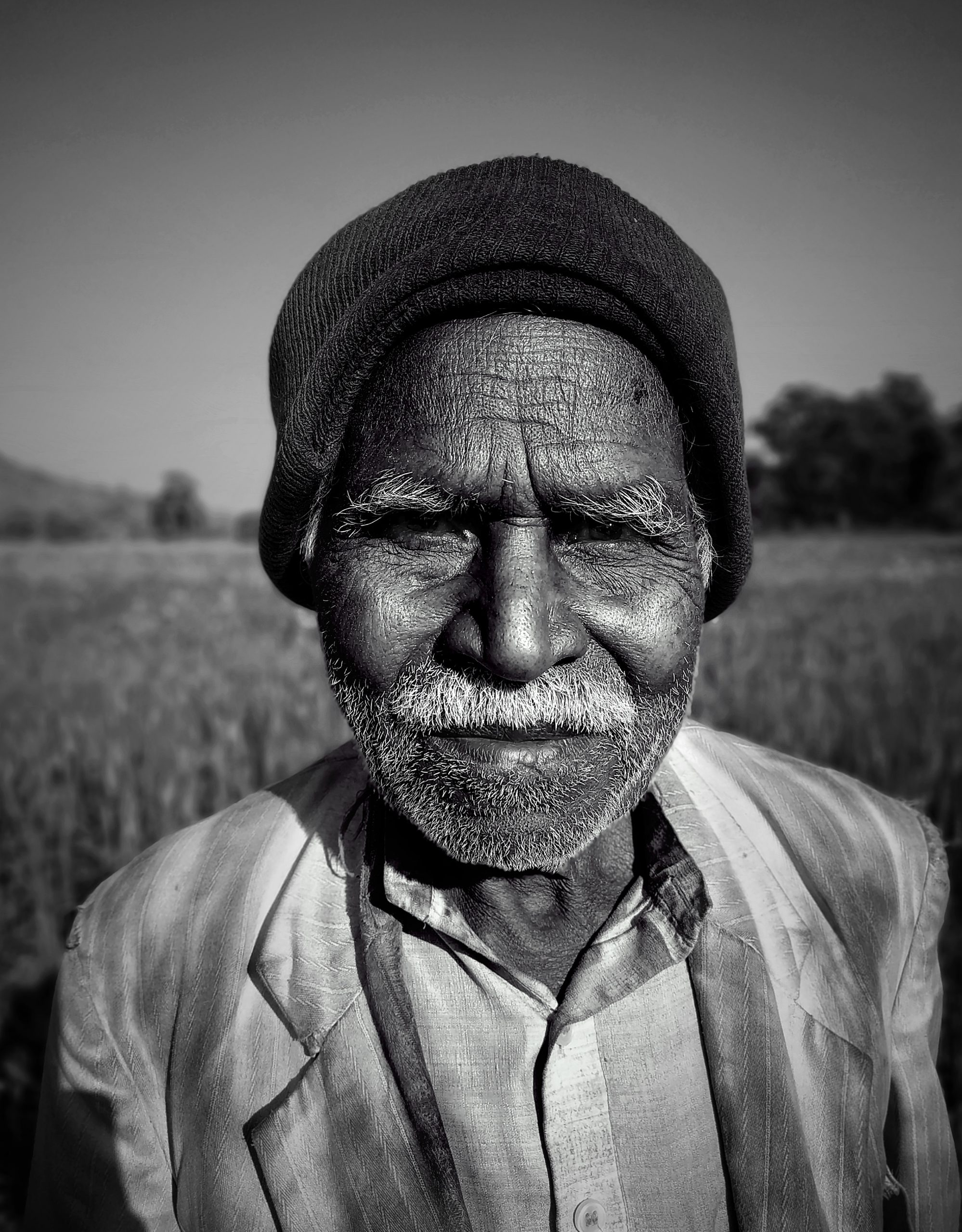 Indian Old Man Monochrome